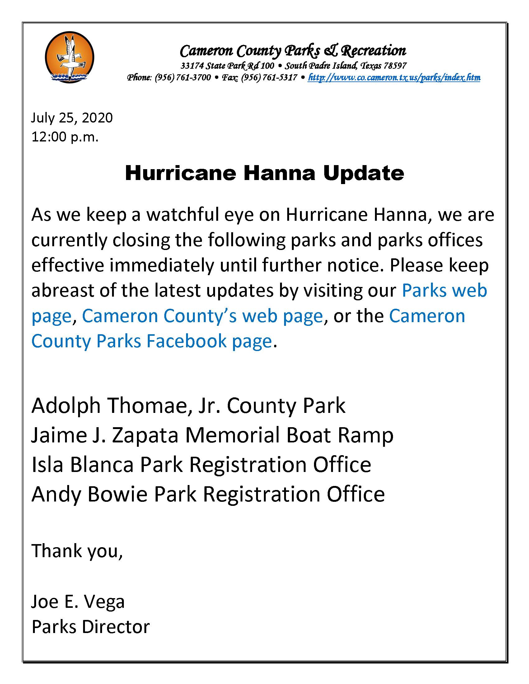 ADVISORY On Closing Parks And Parks Office Hurricane Hanna 7 25 20