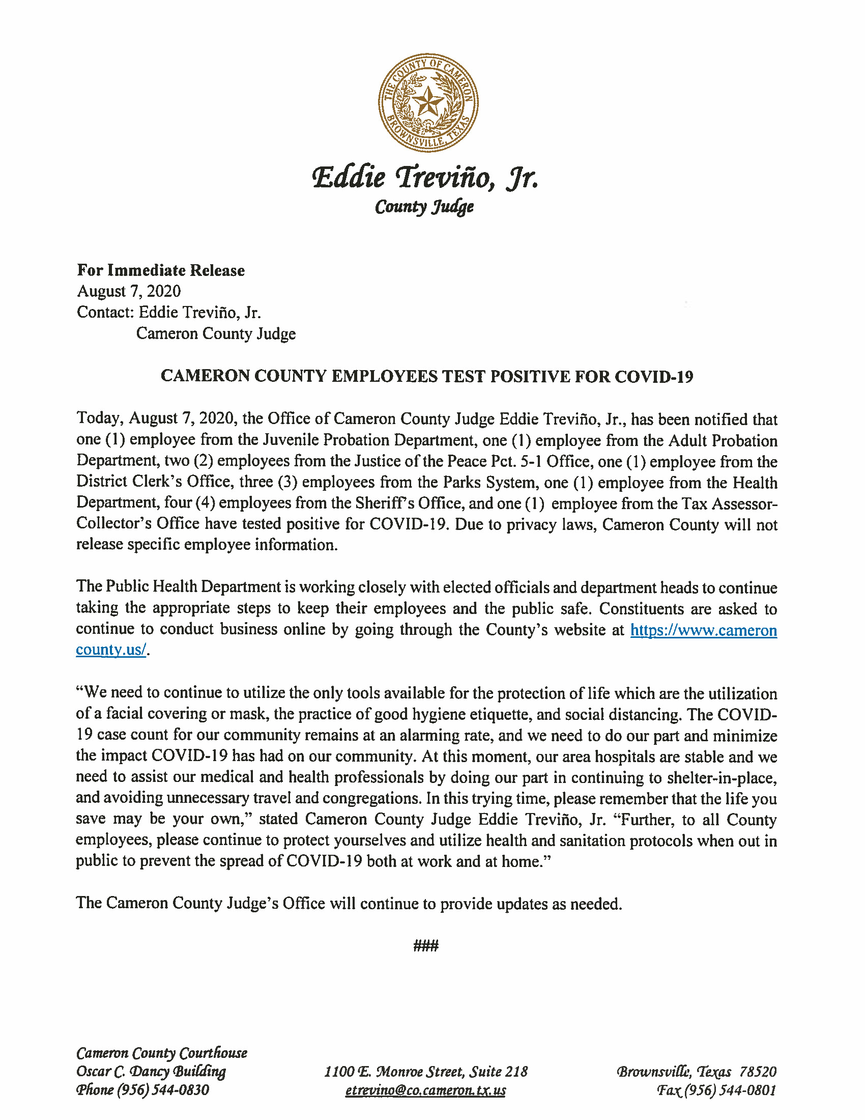 08.07.2020 Cameron County Employees Test Positive For COVID 19