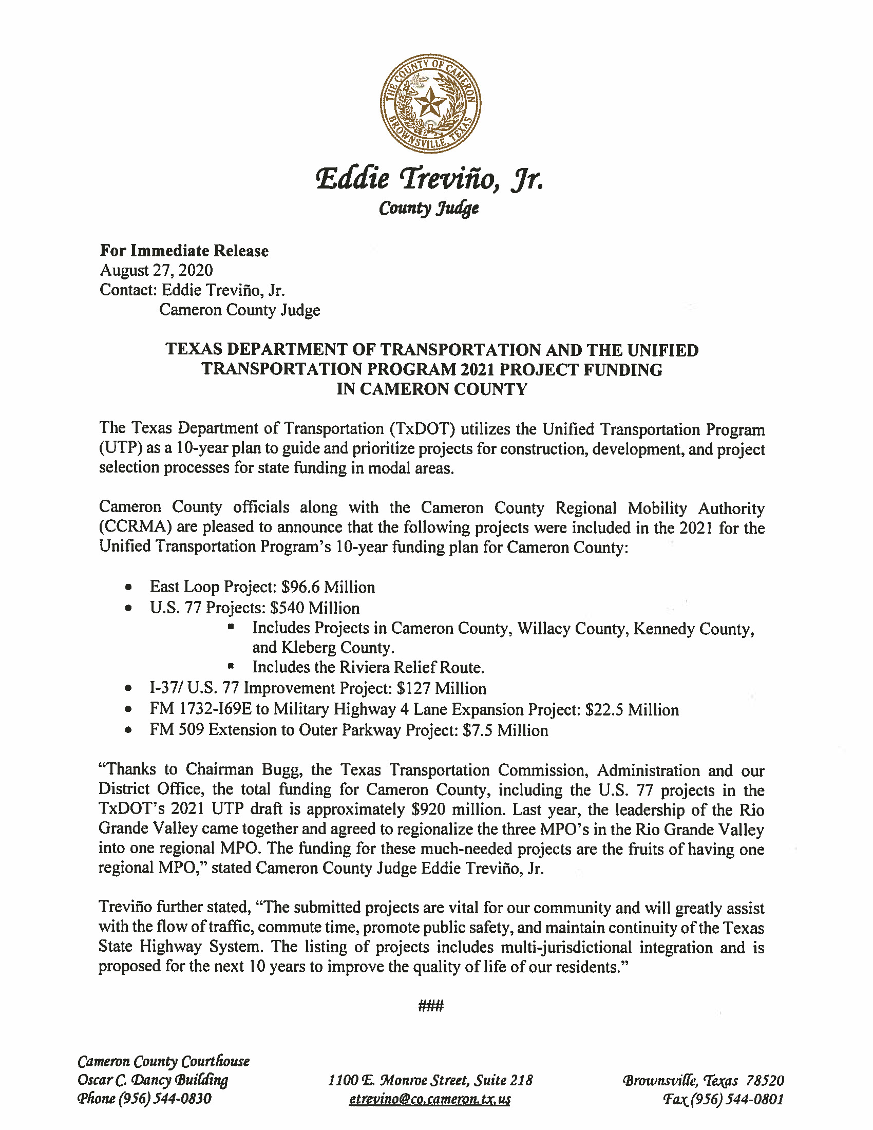 08.27.2020 Texas Department of Transportation and the Unified Transportation Program 2021 Project Funding in Cameron County - Cameron County Housing Authority Application