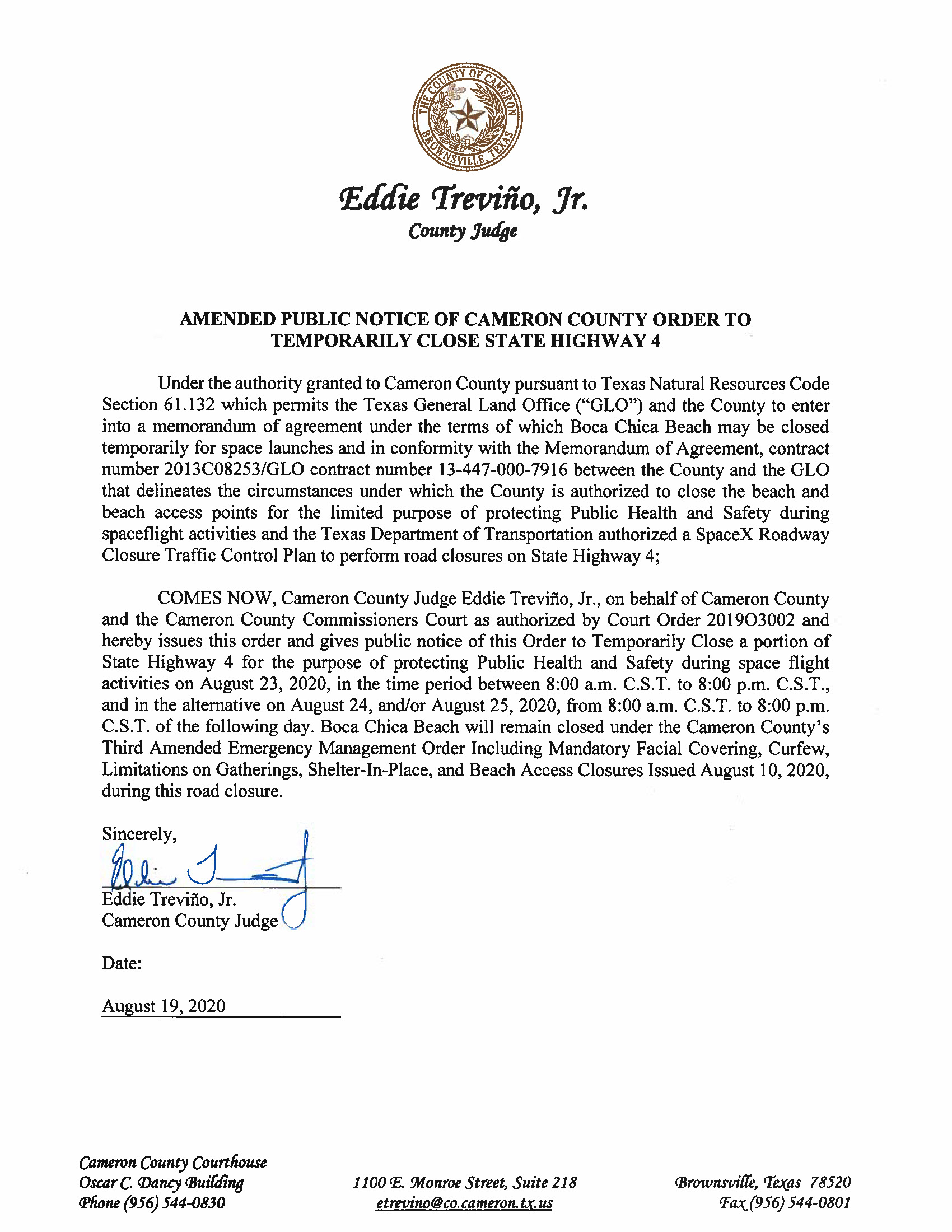 AMENDED PUBLIC NOTICE OF CAMERON COUNTY ORDER TO TEMP. ROAD CLOSURE. 08.23.20.docx