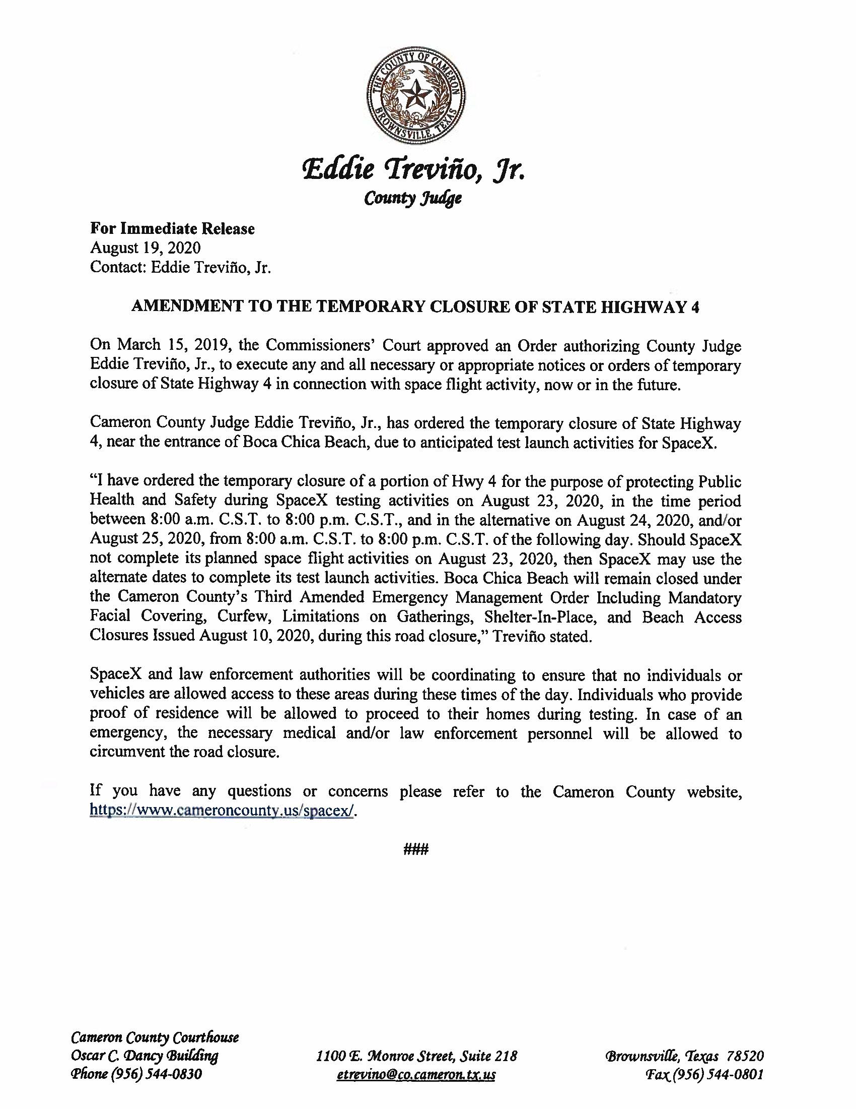 Amendment To Press Release English Spanish 8.23.20 Page 1
