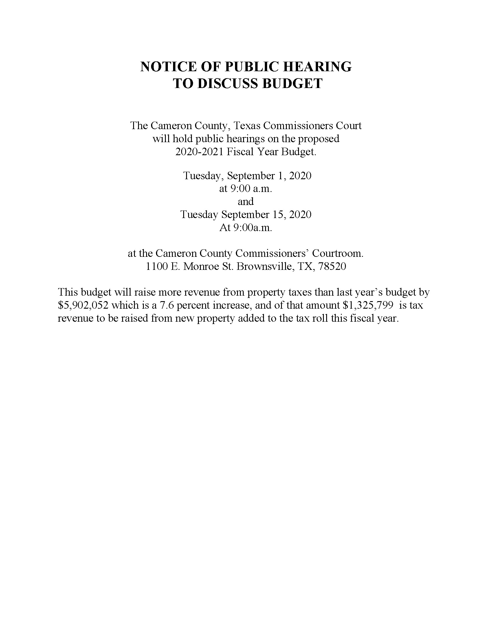 NOTICE OF PUBLIC HEARING BUDGET 2020
