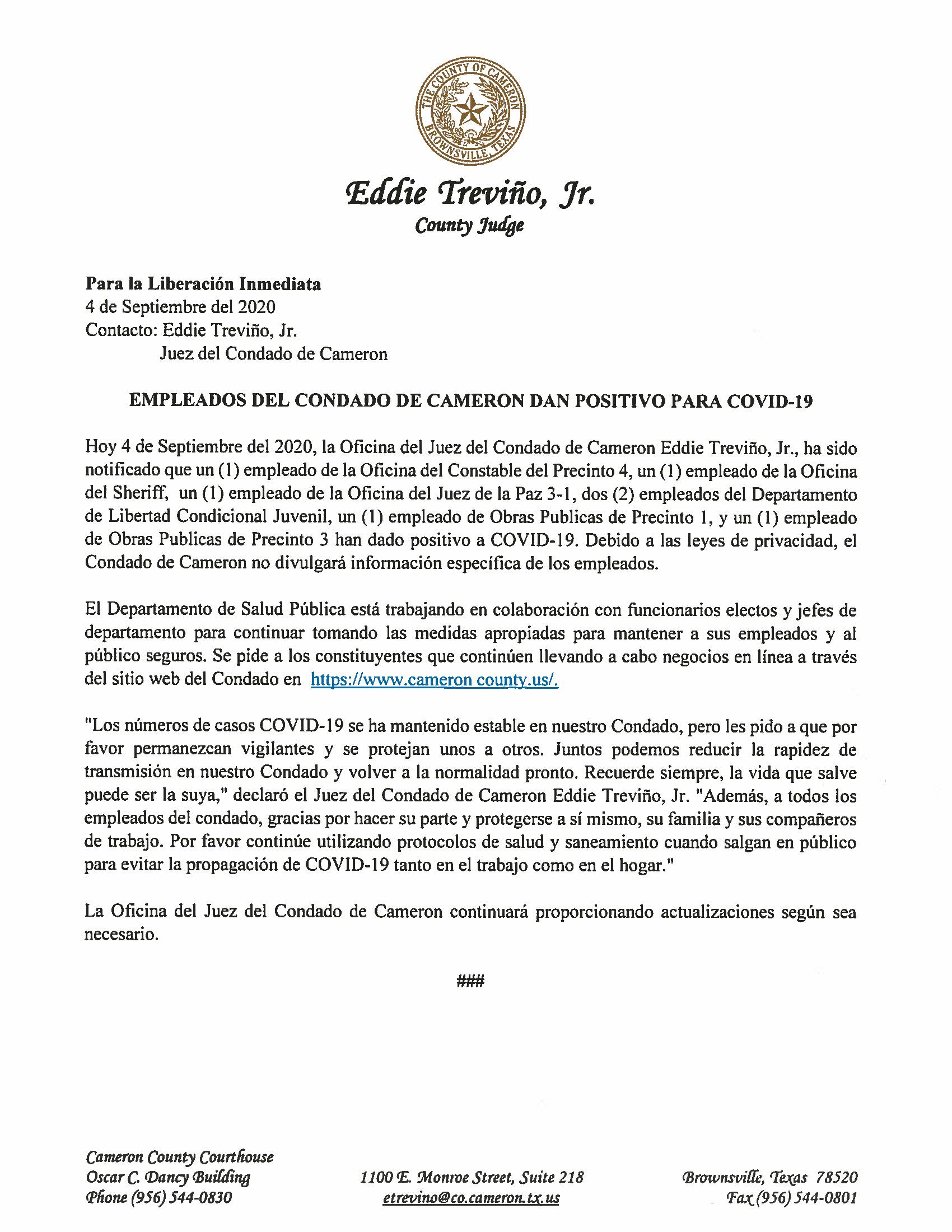 09.04.2020 Empleados Del Condado De Cameron Dan Positivo A COVID 19