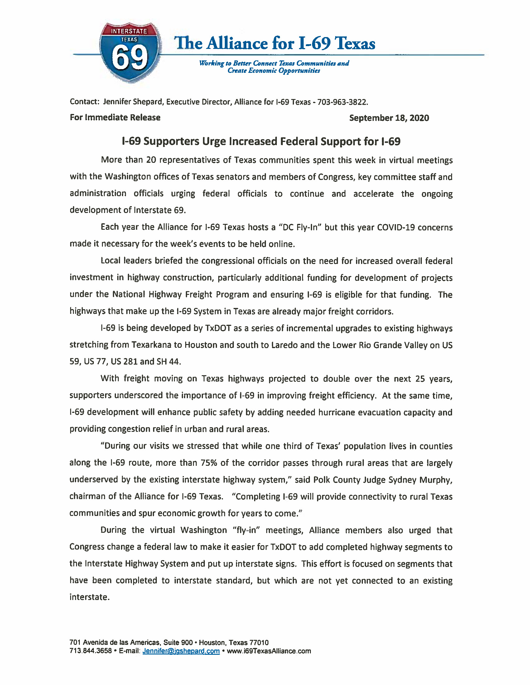 09.18.2020 Press Release I 69 DC Fly In 2020 Page 1