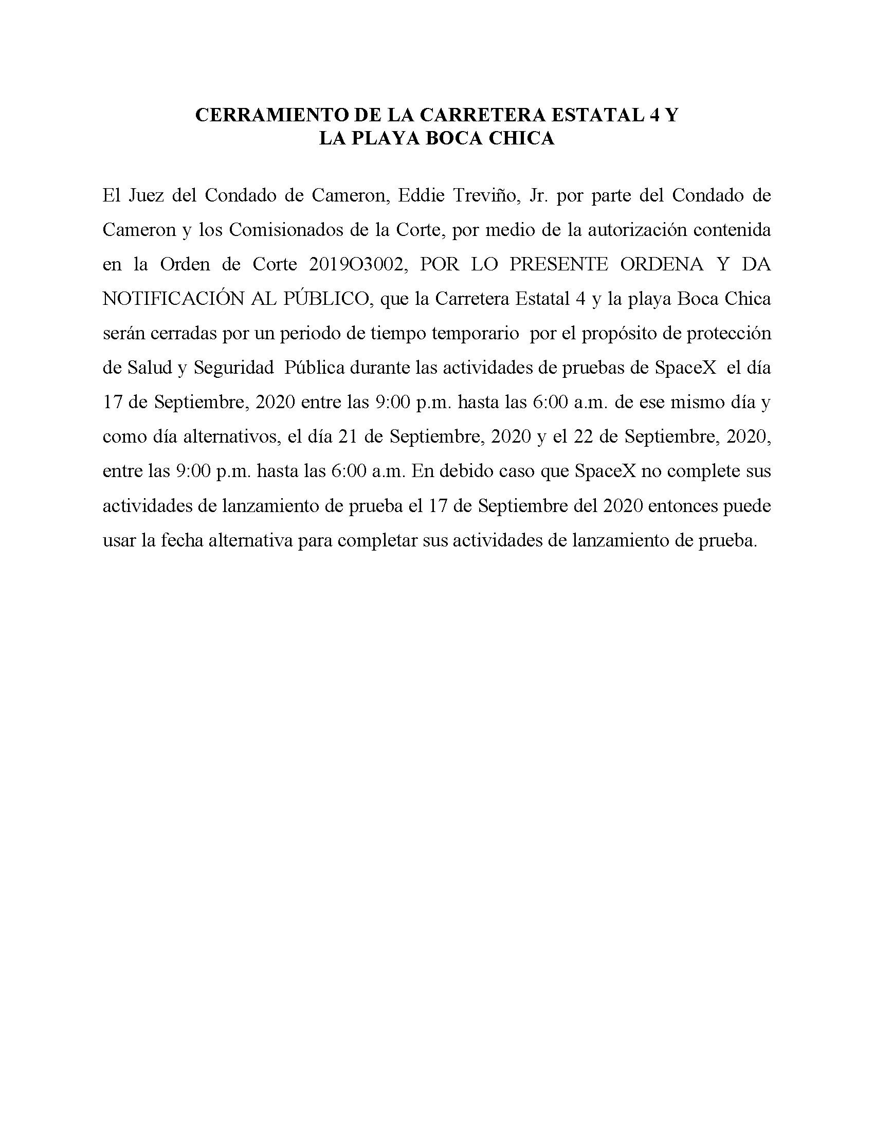 ORDER.CLOSURE OF HIGHWAY 4 Y LA PLAYA BOCA CHICA.SPANISH.9.17.20