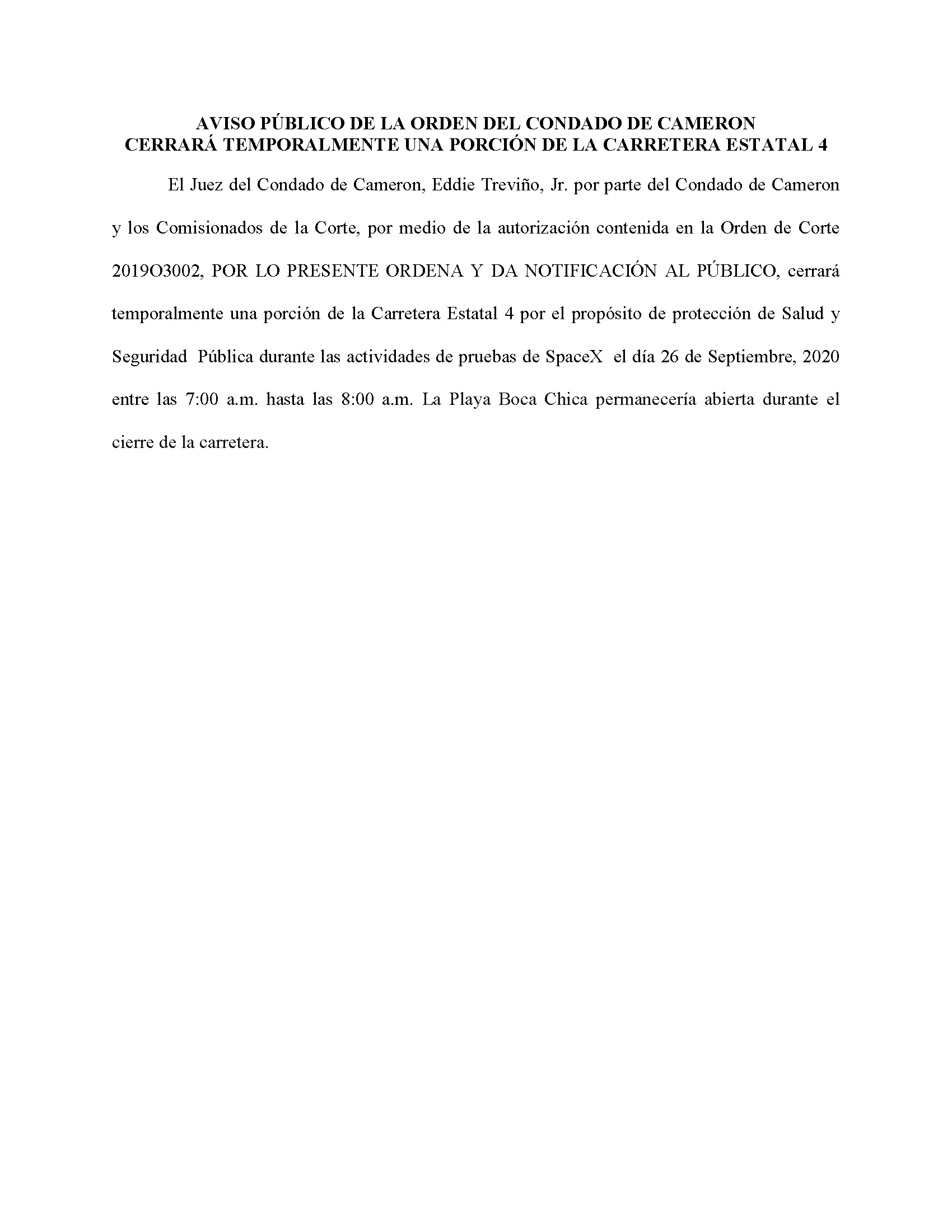ORDER.CLOSURE OF HIGHWAY 4.SPANISH.09.26.20