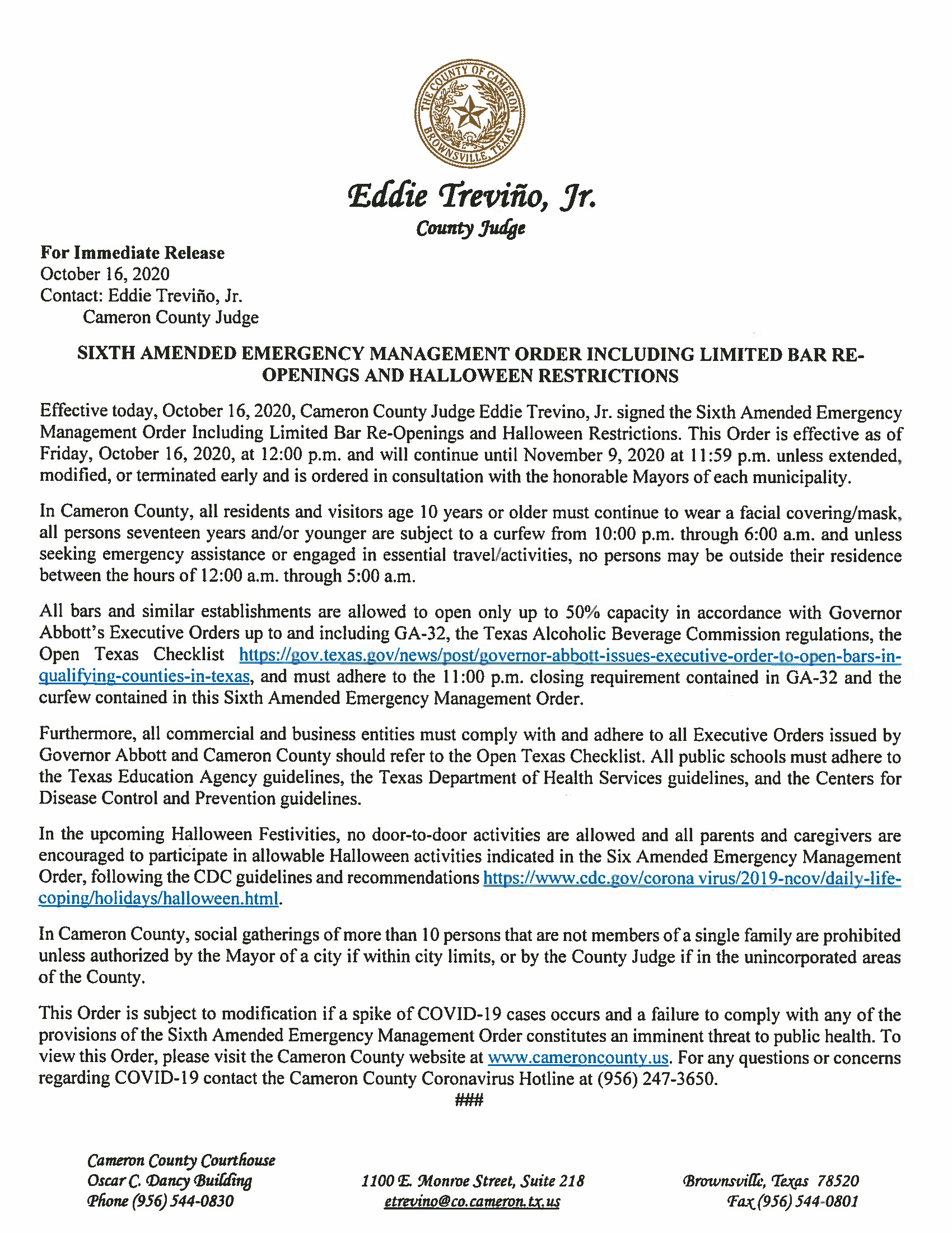 10.16.2020 PR SIxth Amended Emergency Management Order Including Limited Bar Re Openings and Halloween Restrictions - Cameron County Housing Authority Application