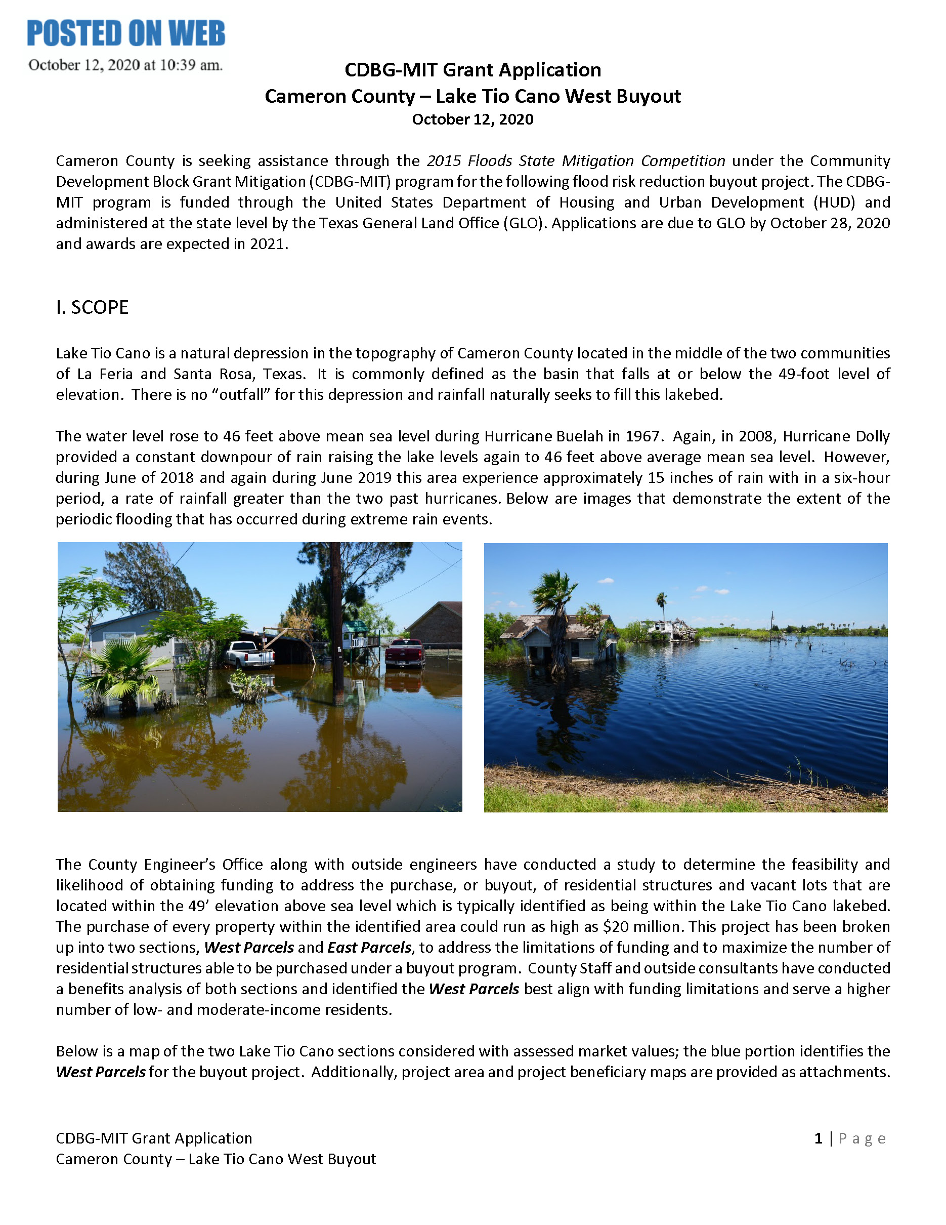 Lake Tio Cano West Buyout Public Notice FINAL Page 1