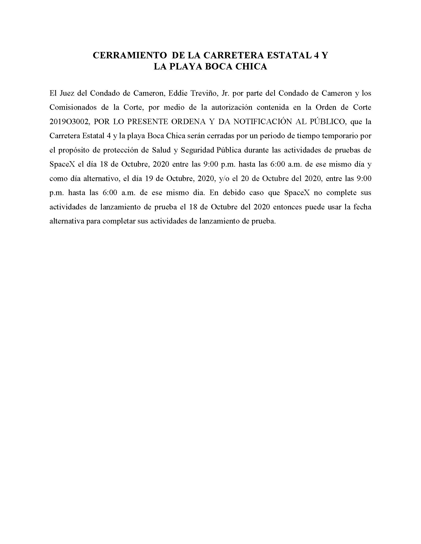 ORDER.CLOSURE OF HIGHWAY 4 Y LA PLAYA BOCA CHICA.SPANISH.10.18.20