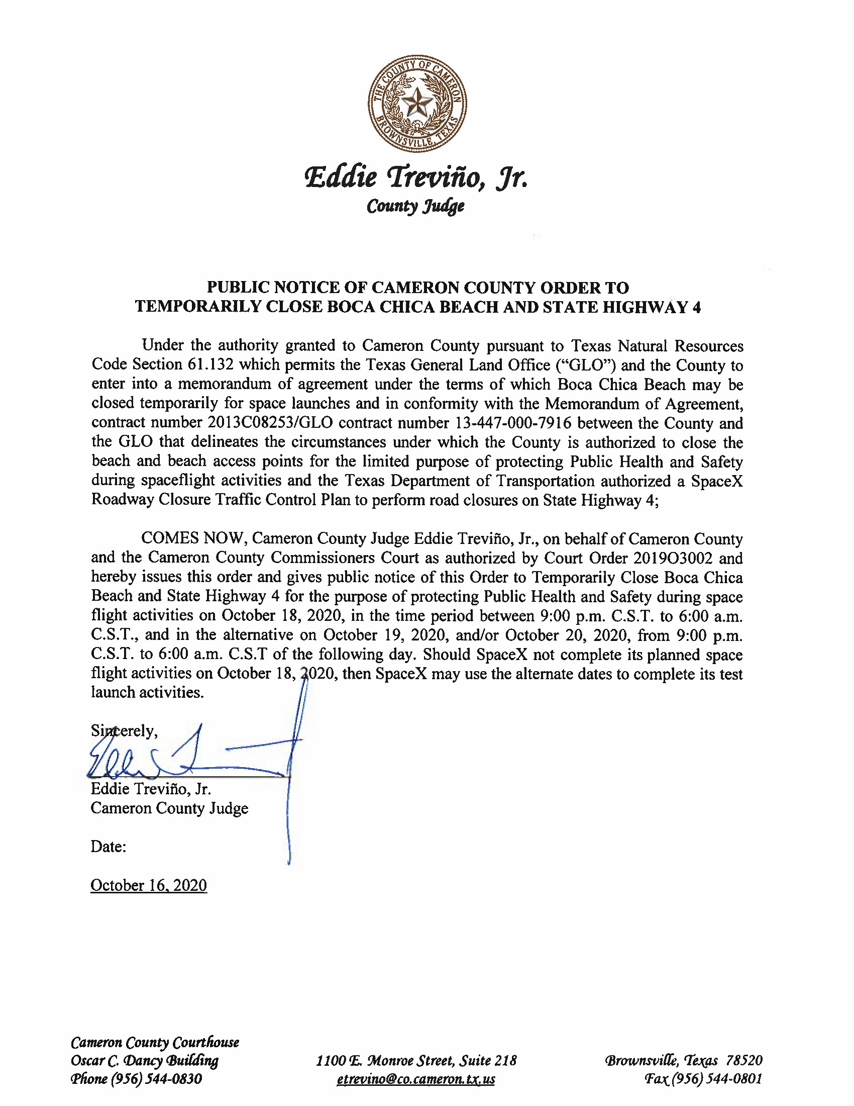 PUBLIC NOTICE OF CAMERON COUNTY ORDER TO TEMP. BEACH CLOSURE AND HWY.10.18.20 Page 1