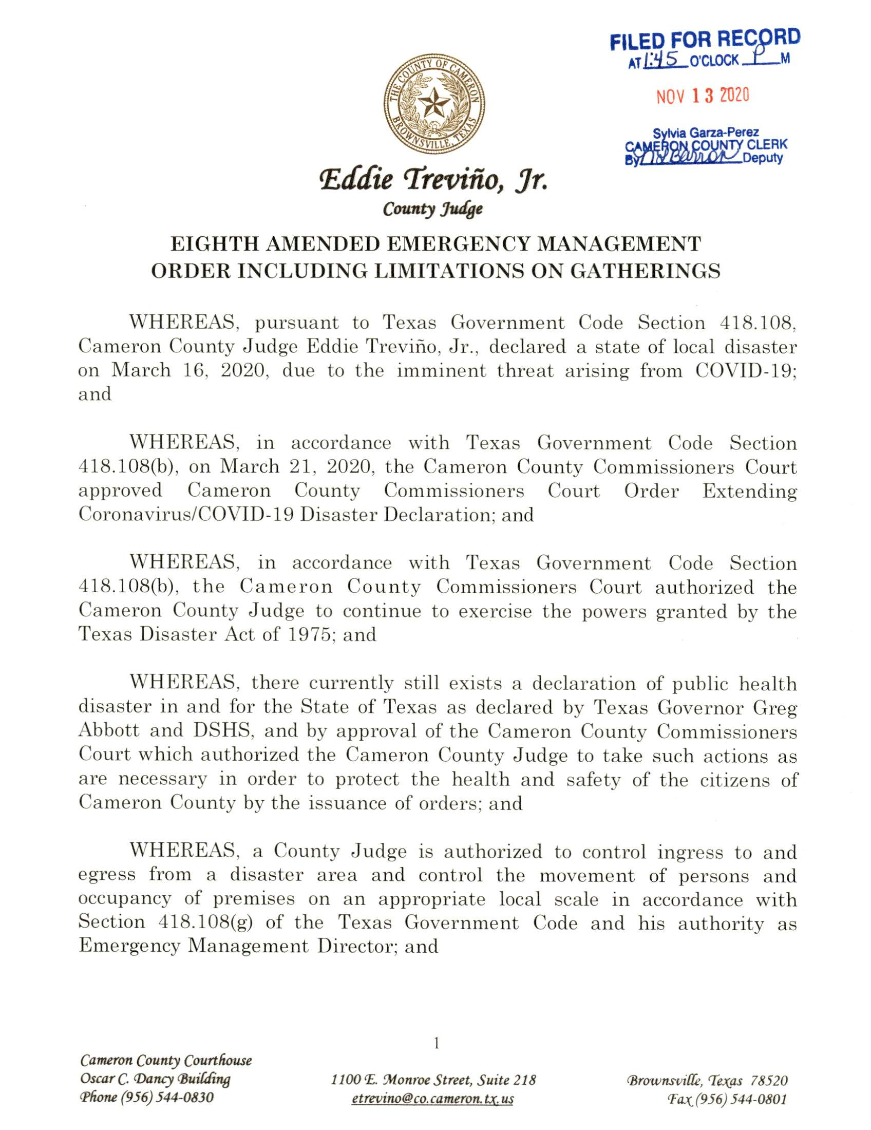 2020.11.13 Eight Amended Emergency Management Order Including Limitations On Gatherings 004 Page 1