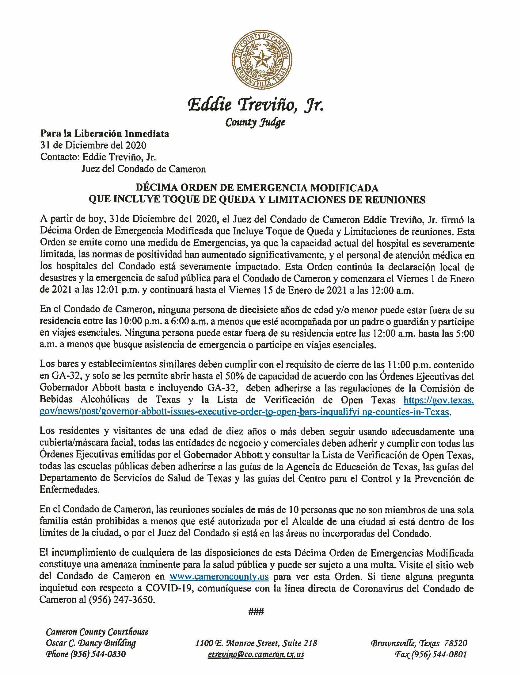 12.31.2020 Liberacion Inmediata Decima Orden De Emergencia Modificada Que Incluye Toque De Queda Y Limitaciones De Reuniones