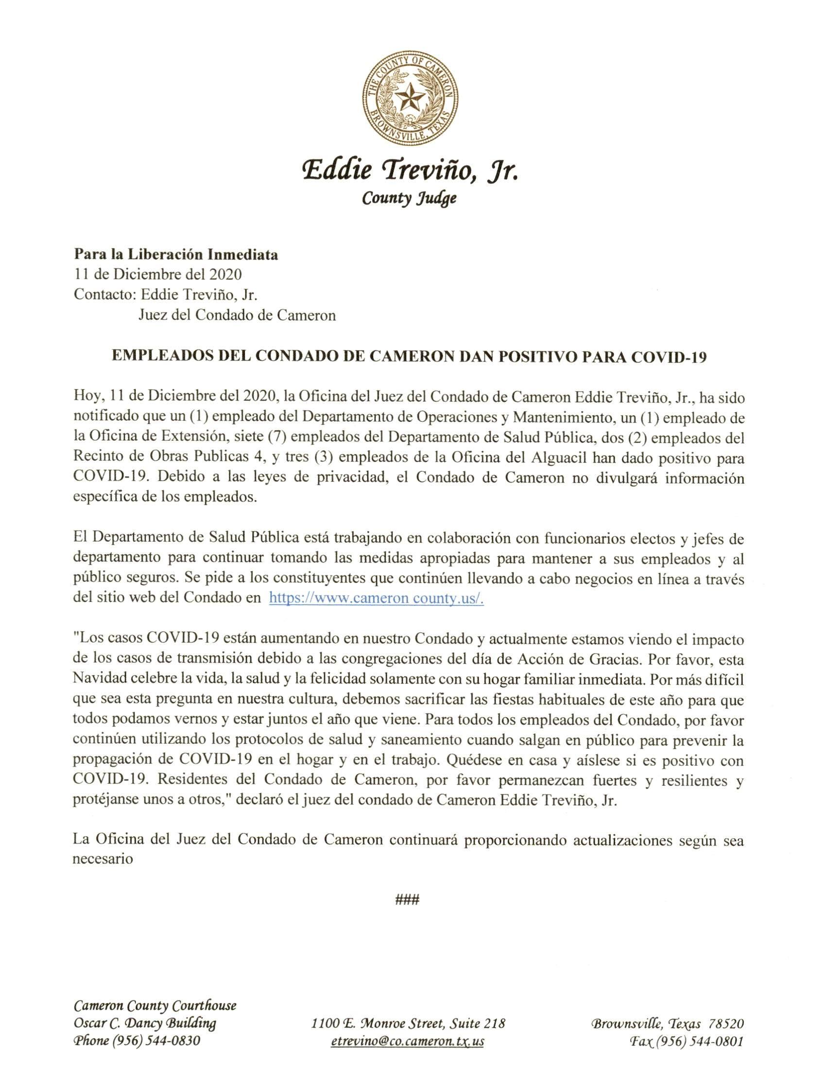 2020.12.11 Comunicado De Prensa Empleados Del Condado De Cameron Dan Positivo Para COVID 19