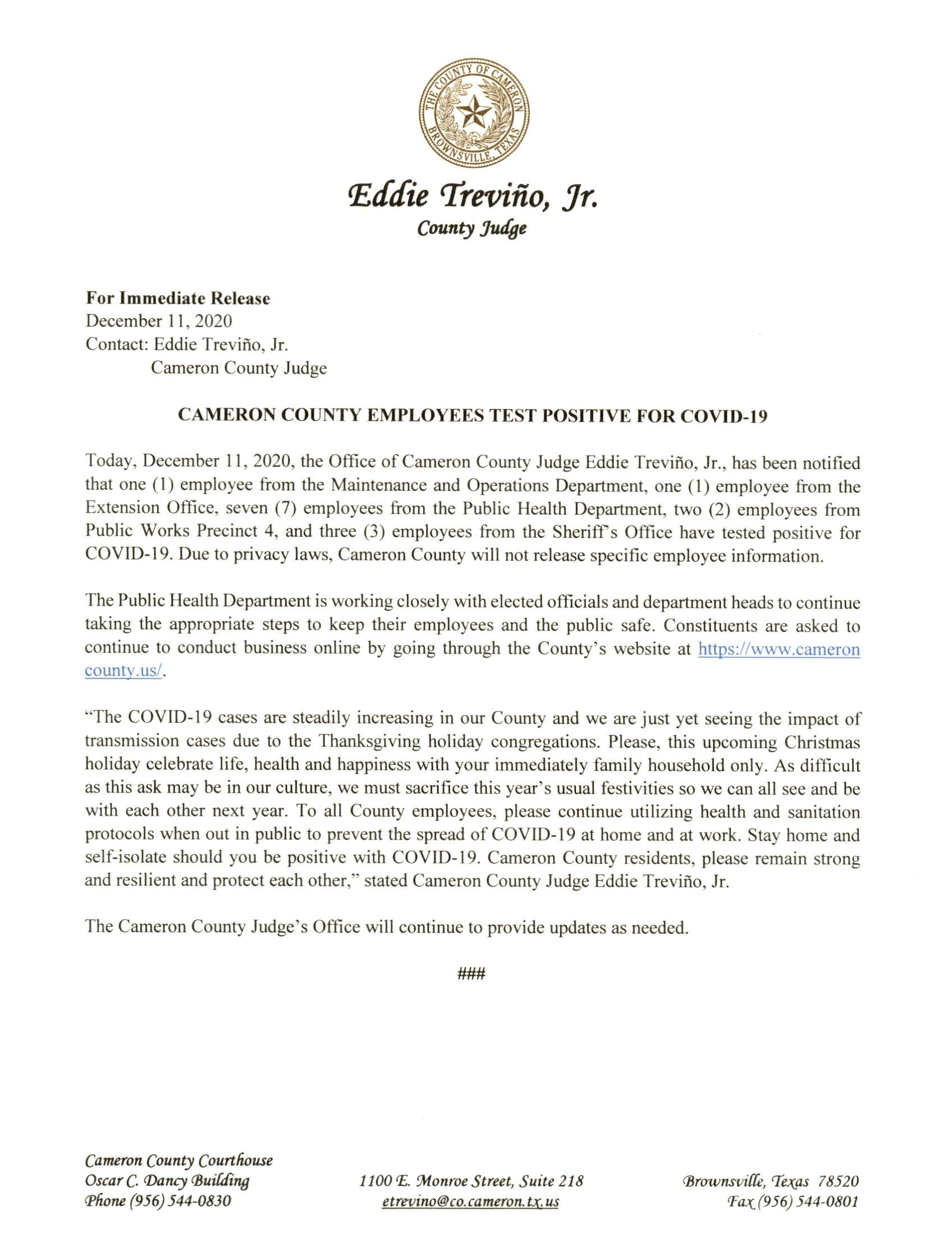2020.12.11 Press Release Cameron County Employees Test Positive For COVID 19