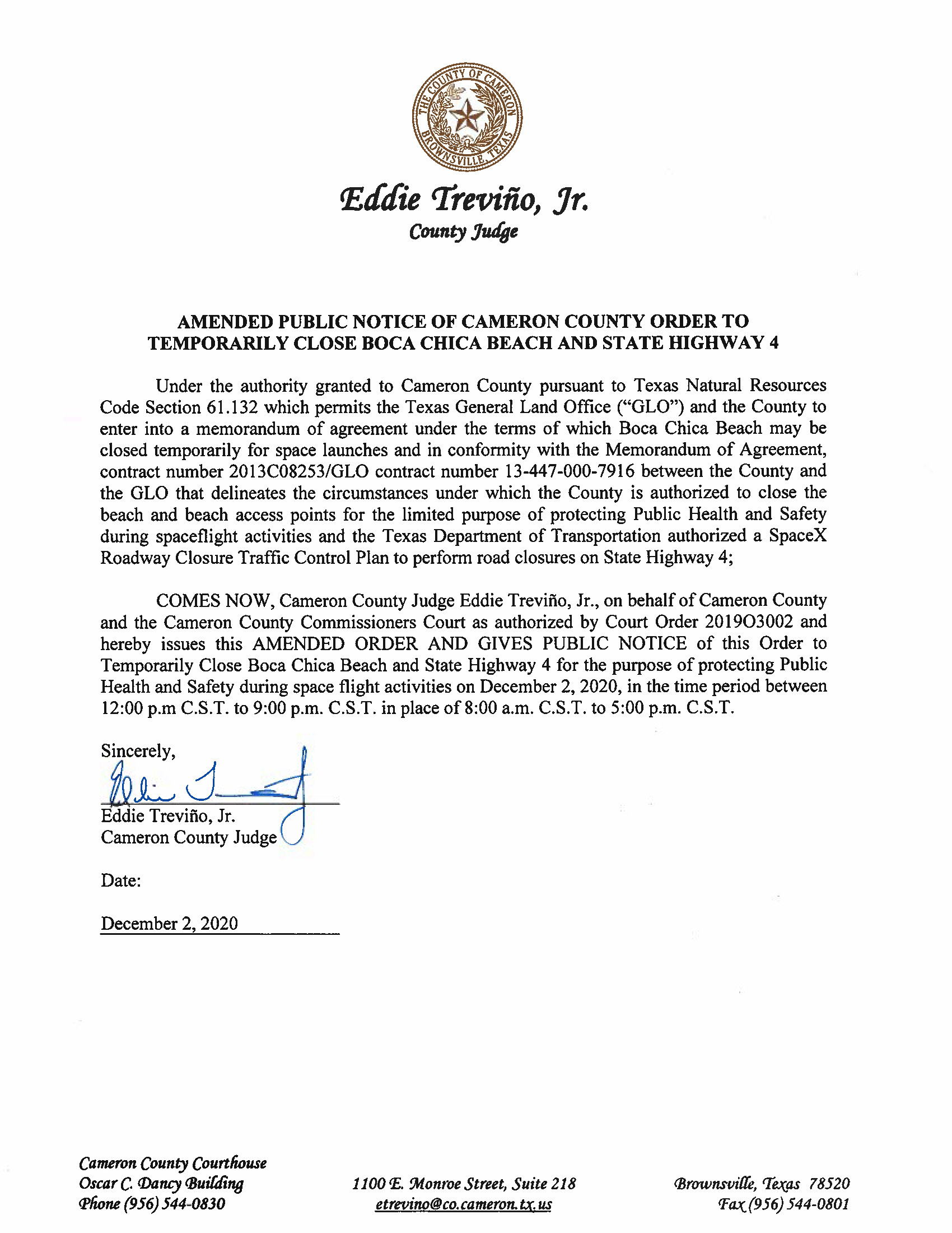 AMENDMENT PUBLIC NOTICE OF CAMERON COUNTY ORDER TO TEMP. BEACH CLOSURE AND HWY.12.02.20
