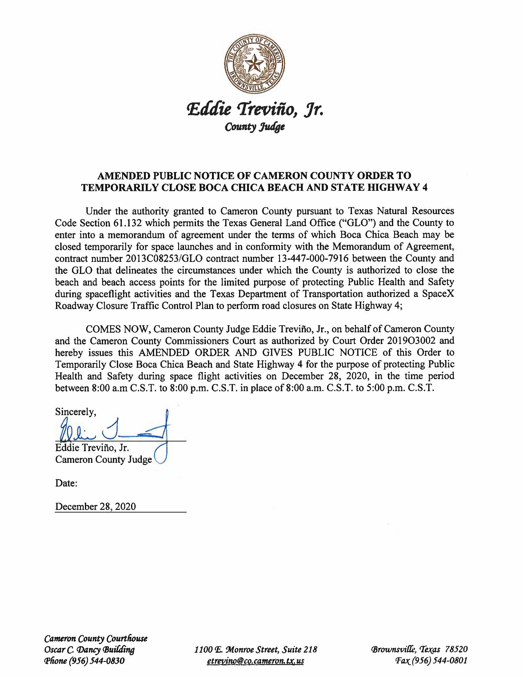 AMENDMENT PUBLIC NOTICE OF CAMERON COUNTY ORDER TO TEMP. BEACH CLOSURE AND HWY.12.28.20