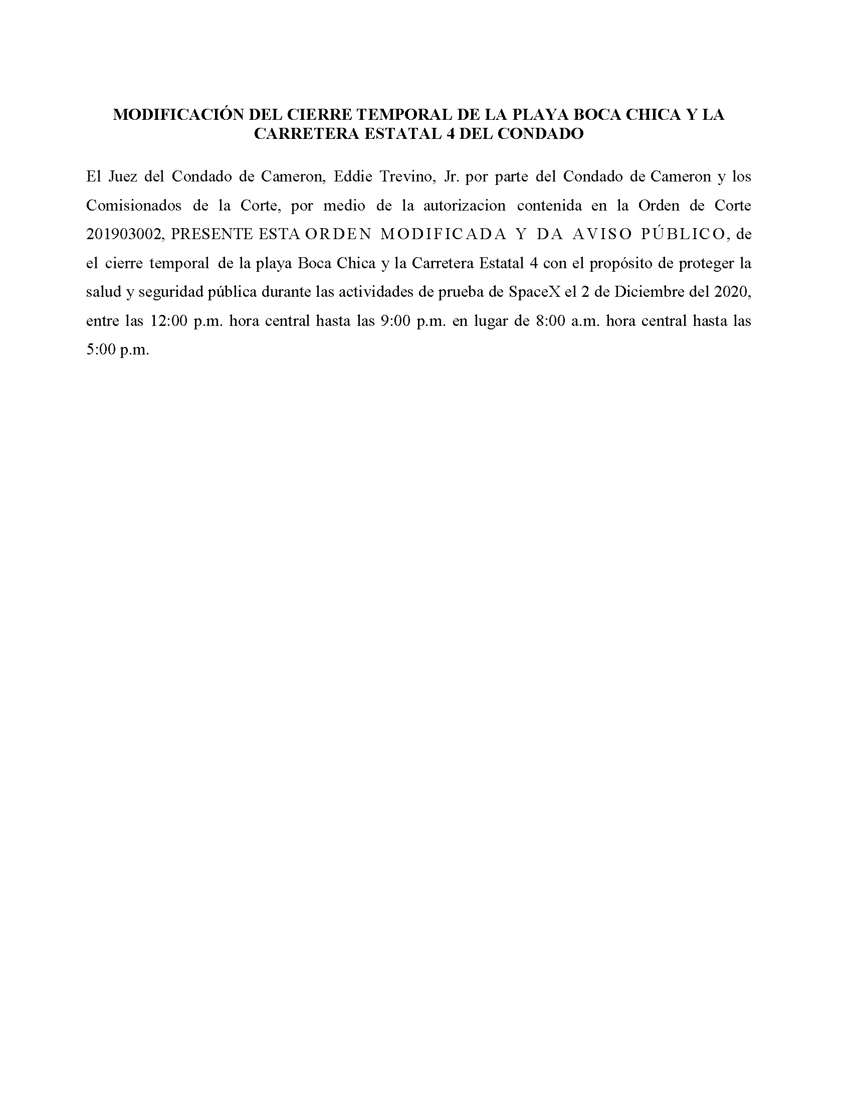 Amended Order In Spanish.12.02.20