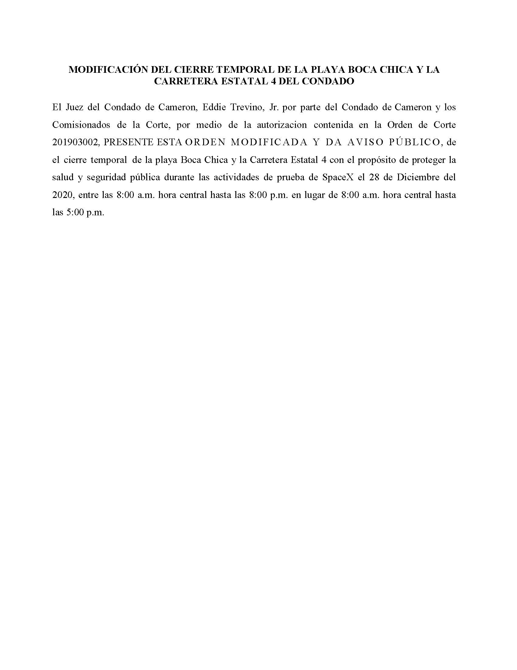Amended Order In Spanish.12.28.20