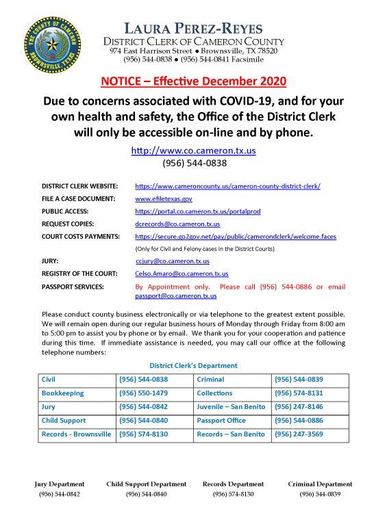 Covid 19 - Notice DEC 2020