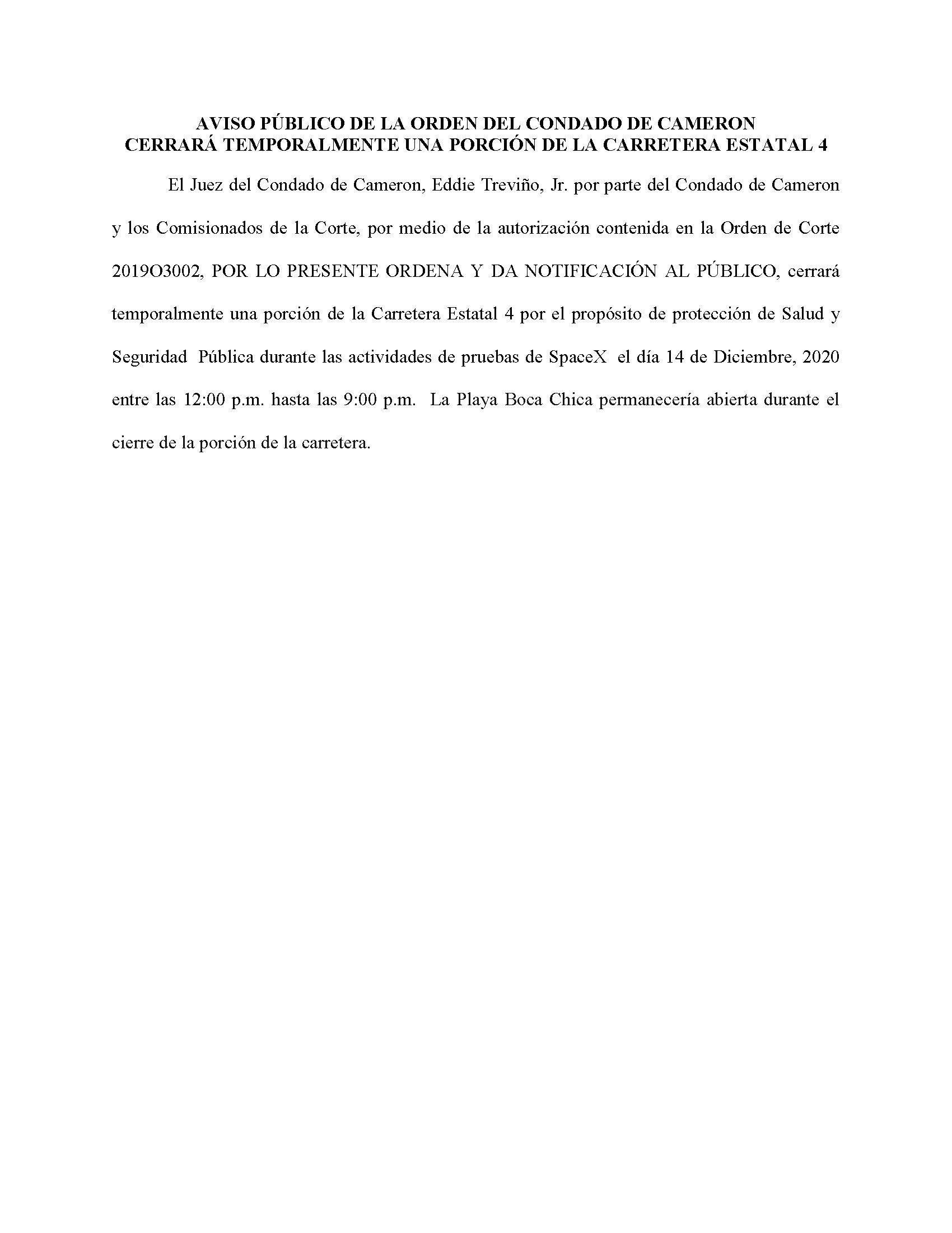 ORDER.CLOSURE OF HIGHWAY 4.SPANISH.12.14.20