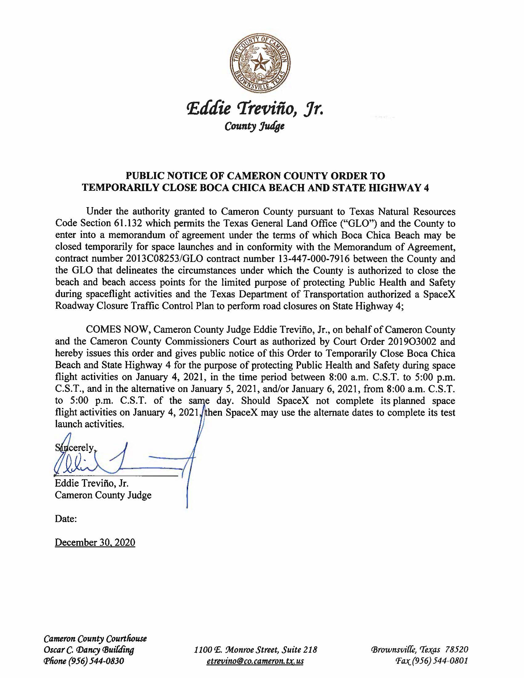PUBLIC NOTICE OF CAMERON COUNTY ORDER TO TEMP. BEACH CLOSURE AND HWY.01.04.2021 rev - Cameron County Housing Authority Application