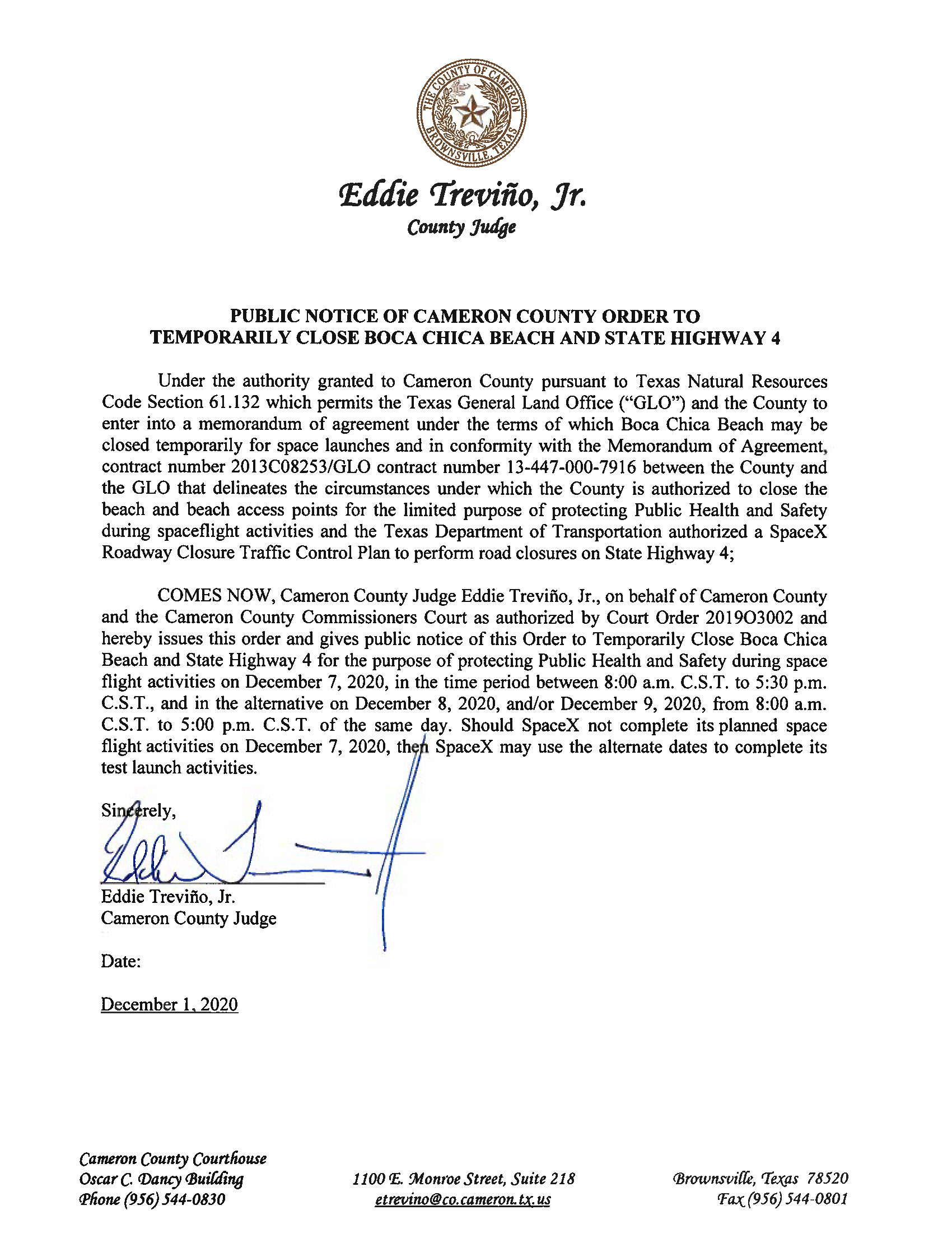 PUBLIC NOTICE OF CAMERON COUNTY ORDER TO TEMP. BEACH CLOSURE AND HWY.12.07.20 Page 1