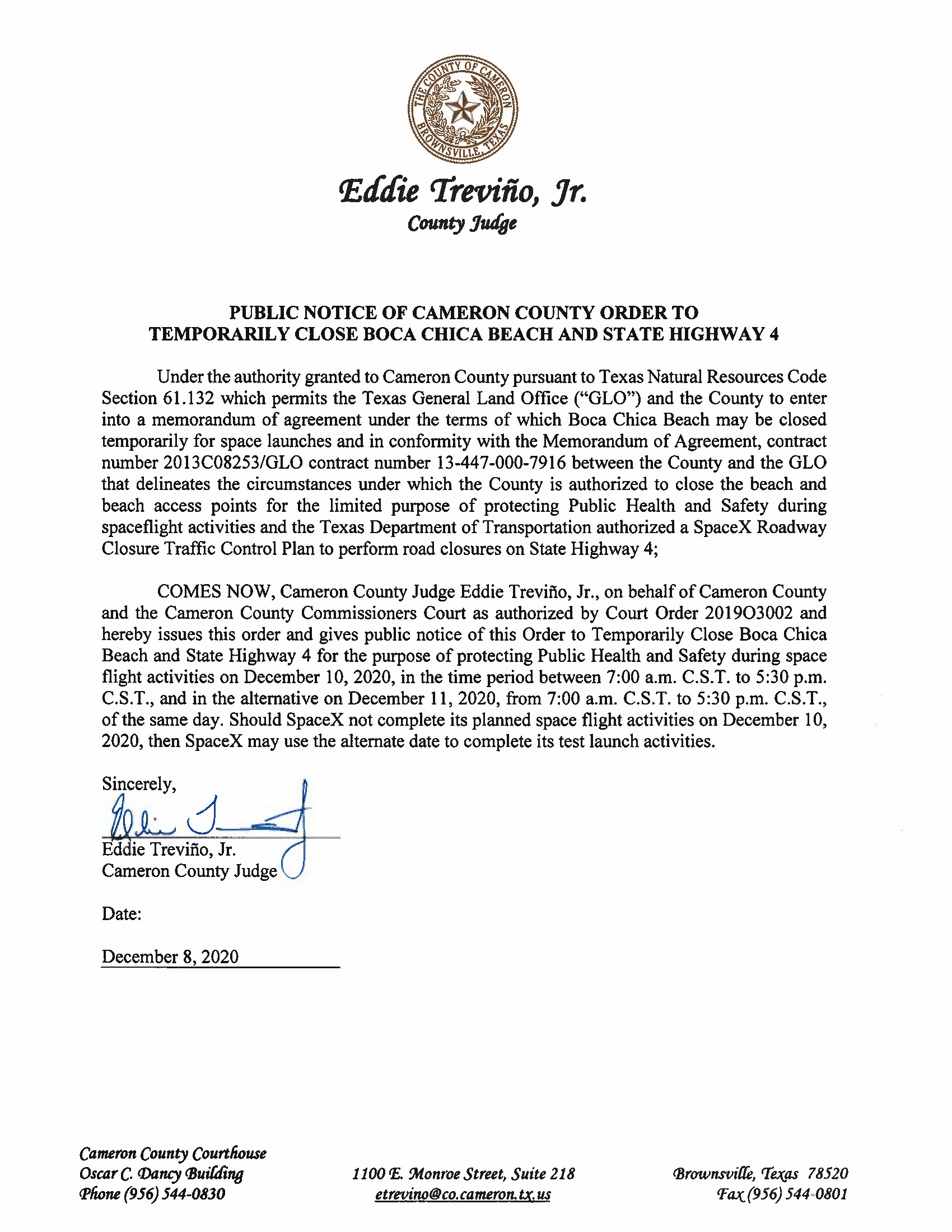 PUBLIC NOTICE OF CAMERON COUNTY ORDER TO TEMP. BEACH CLOSURE AND HWY.12.10.20.docx Page 1
