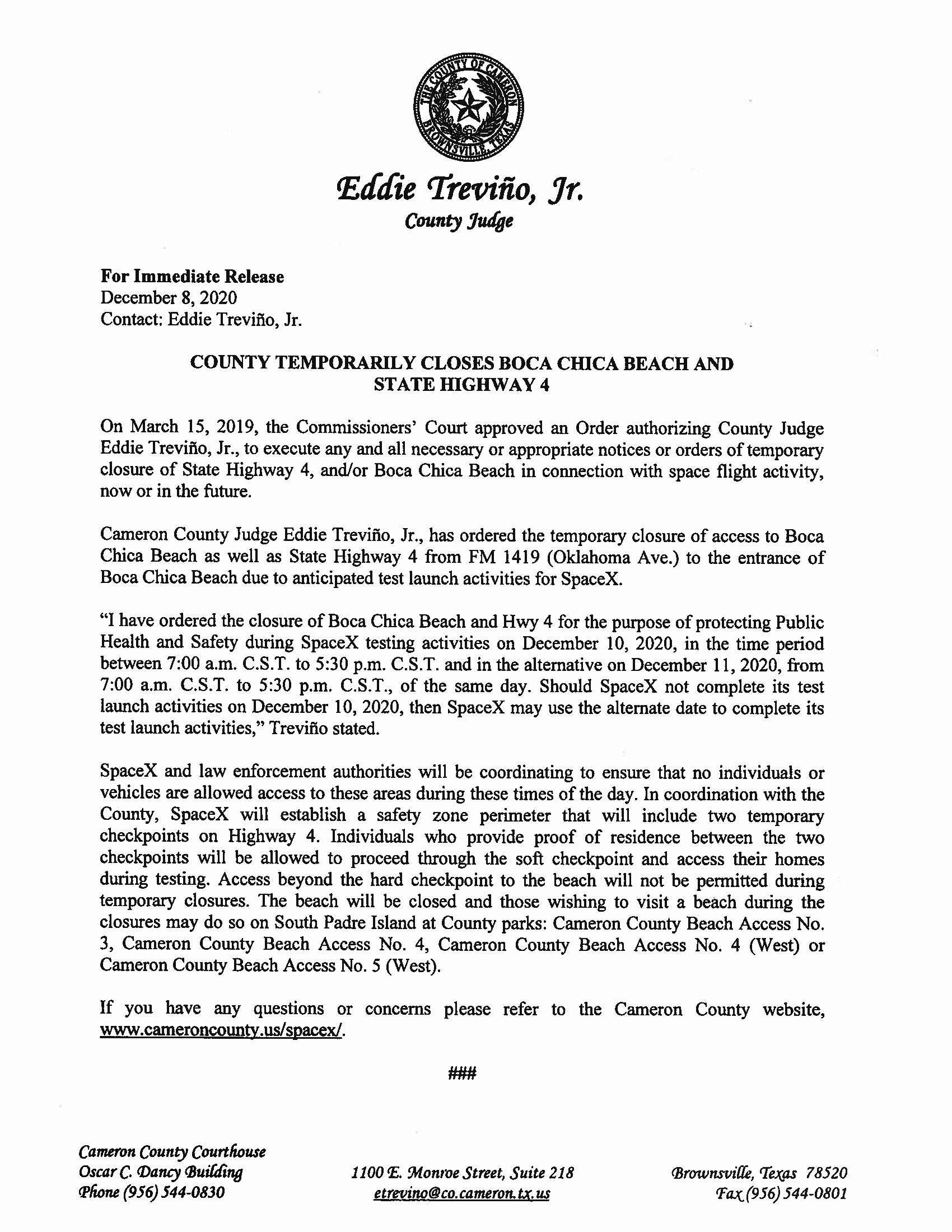 Press Release On Order Of Closure Related To SpaceX Flight.12.10.2020.doc Page 1