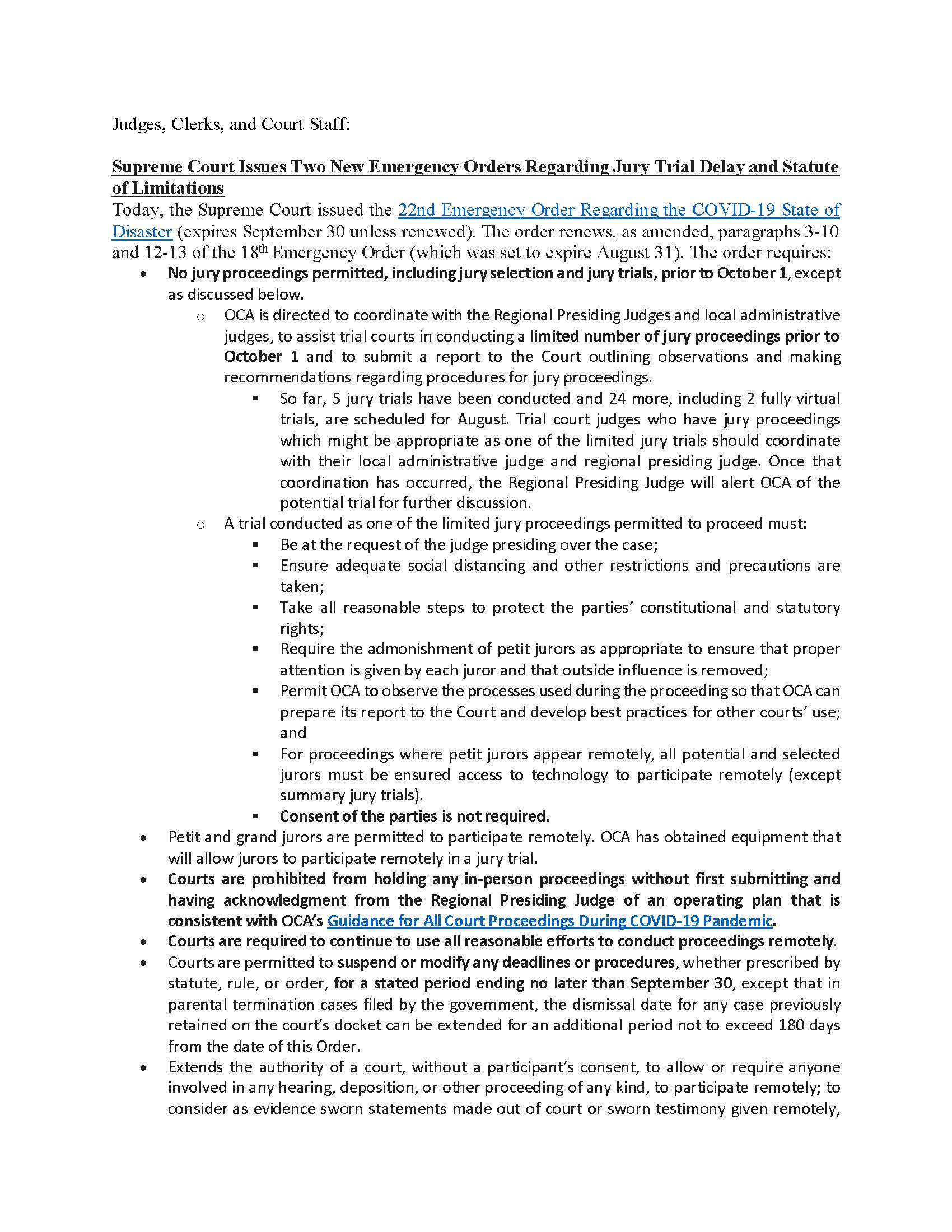 Update 14 Supreme Court Delays Jury Trial Resumption Page 1