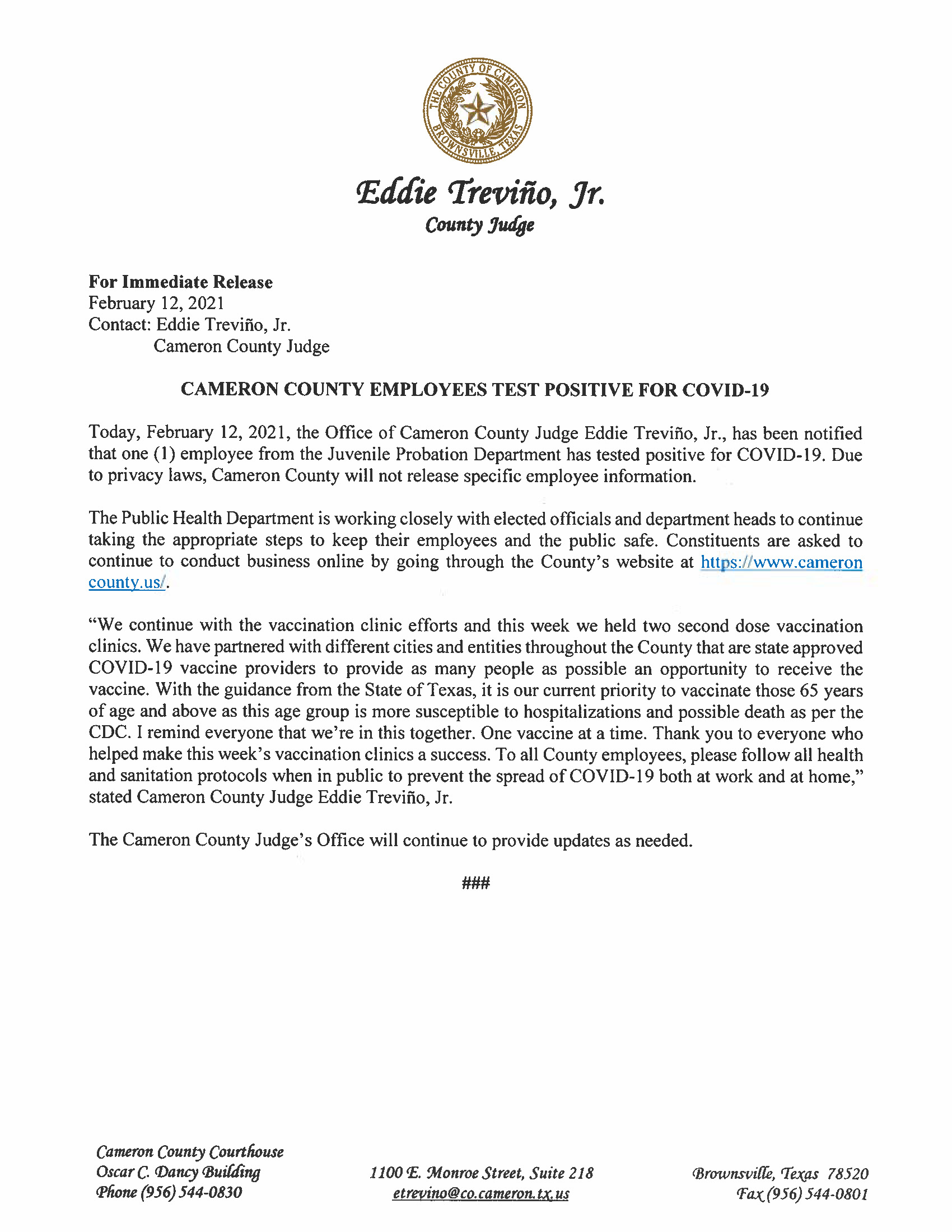 Cameron County Employees Test Positive for Covid-19