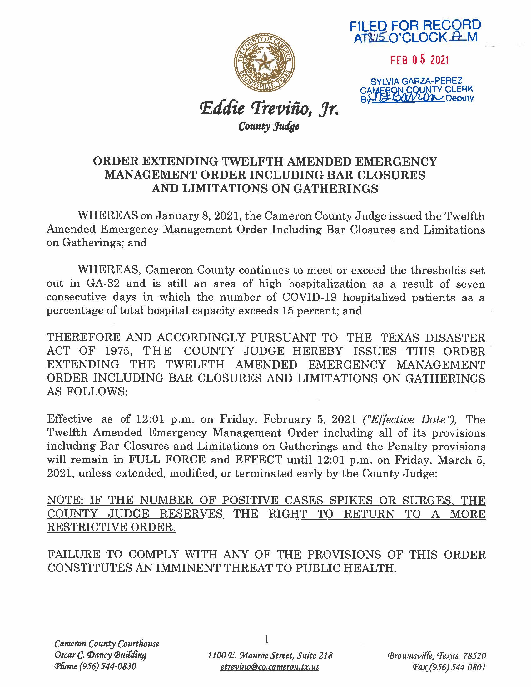 Order Extending Twelfth Amended Emergency Order