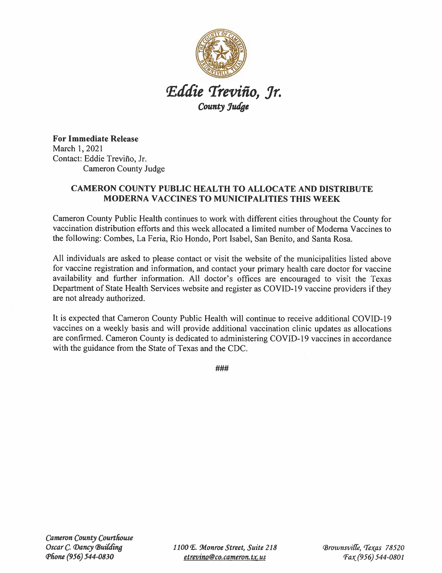 3.1.21 Cameron County Public Health To Allocate And Distribute Moderna Vaccines To Municipalities This Week
