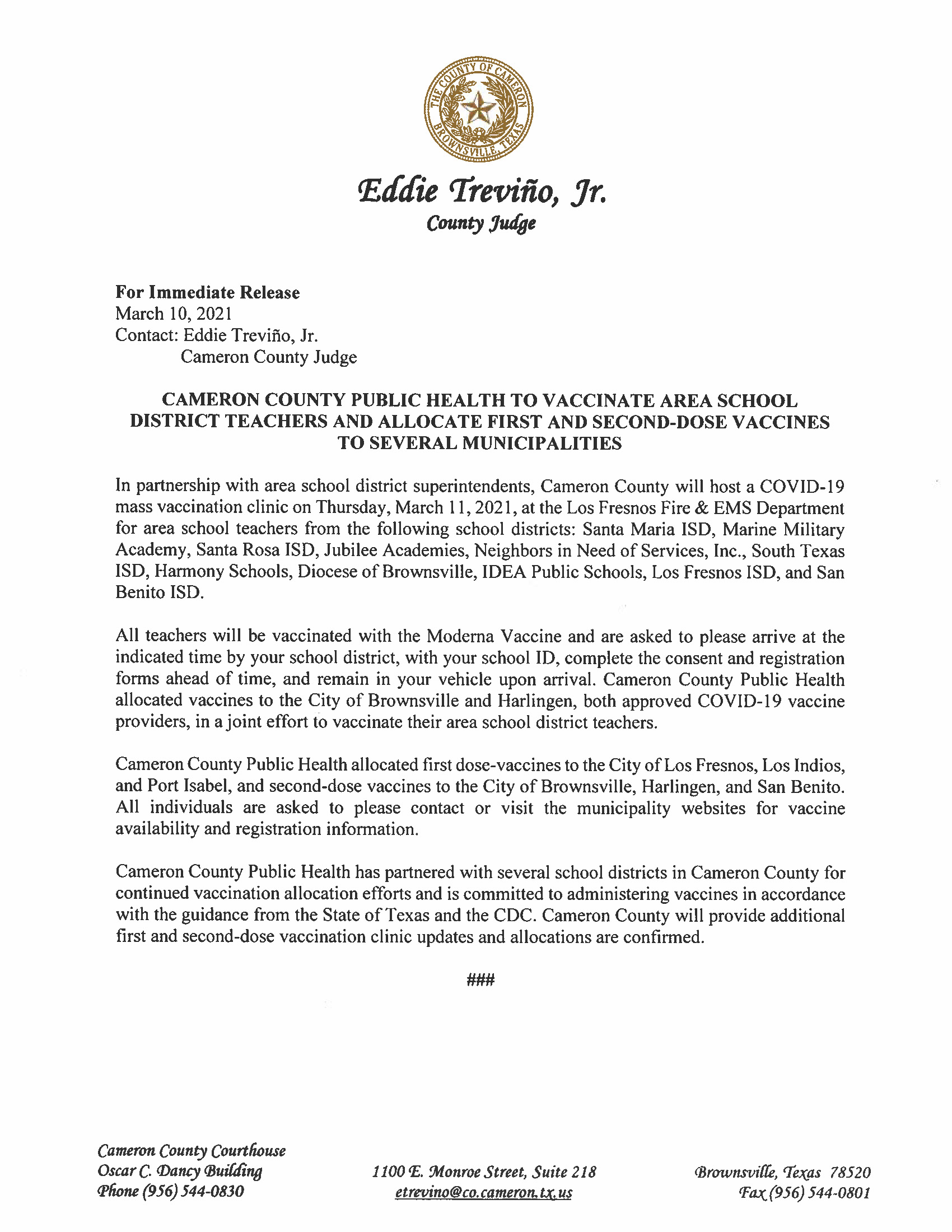 3.10.21 Cameron County Public Health To Vaccinate Area School District Teachers And Allocate First And Second Dose Vaccines To Several Municipalities