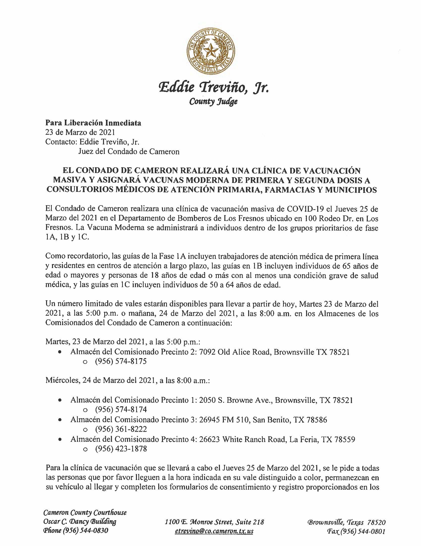 3.23.21 Condado De Cameron Realizara Una Clinica De Vacunacion Masica Y Asignara Vacunas Moderna De Primera