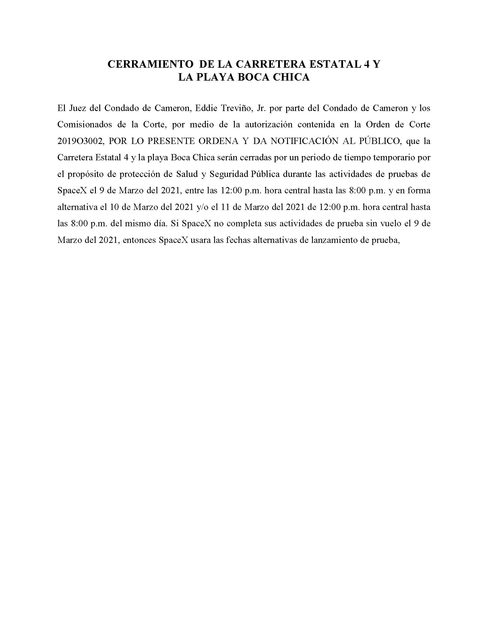 ORDER.CLOSURE OF HIGHWAY 4 Y LA PLAYA BOCA CHICA.SPANISH.03.09.2021
