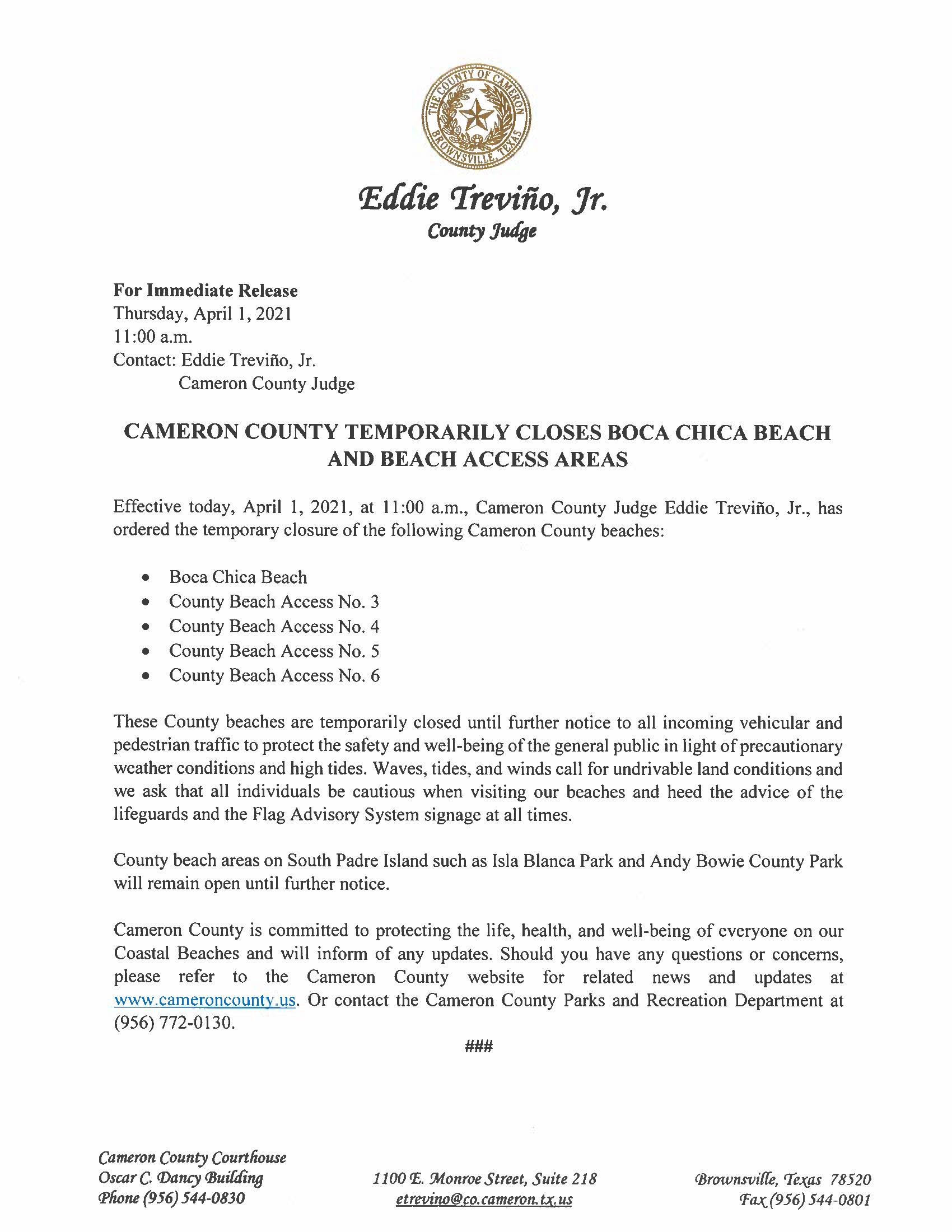 4.1.21 Cameron County Temporarily Closes Boca Chica Beach And Beach Access Areas