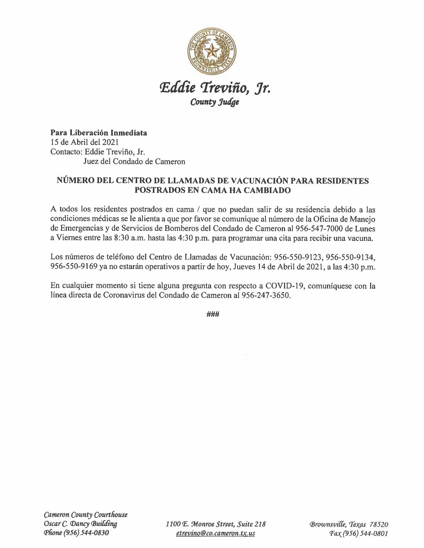 4.15.21 Numero Del Centro De Llamadas De Vacunacion Para Residentes Postrados En Cama Ha Cambiado