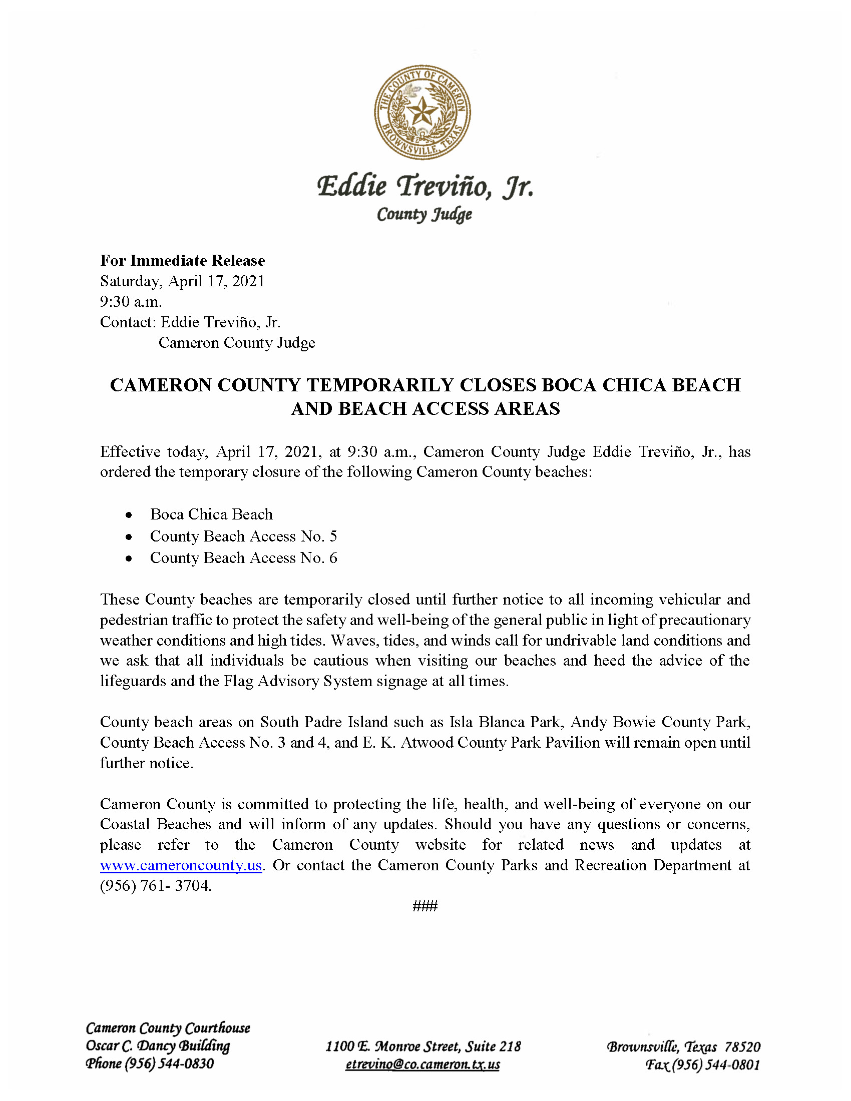 4.17.21 Boca Chica Beach And Access Areas To Close