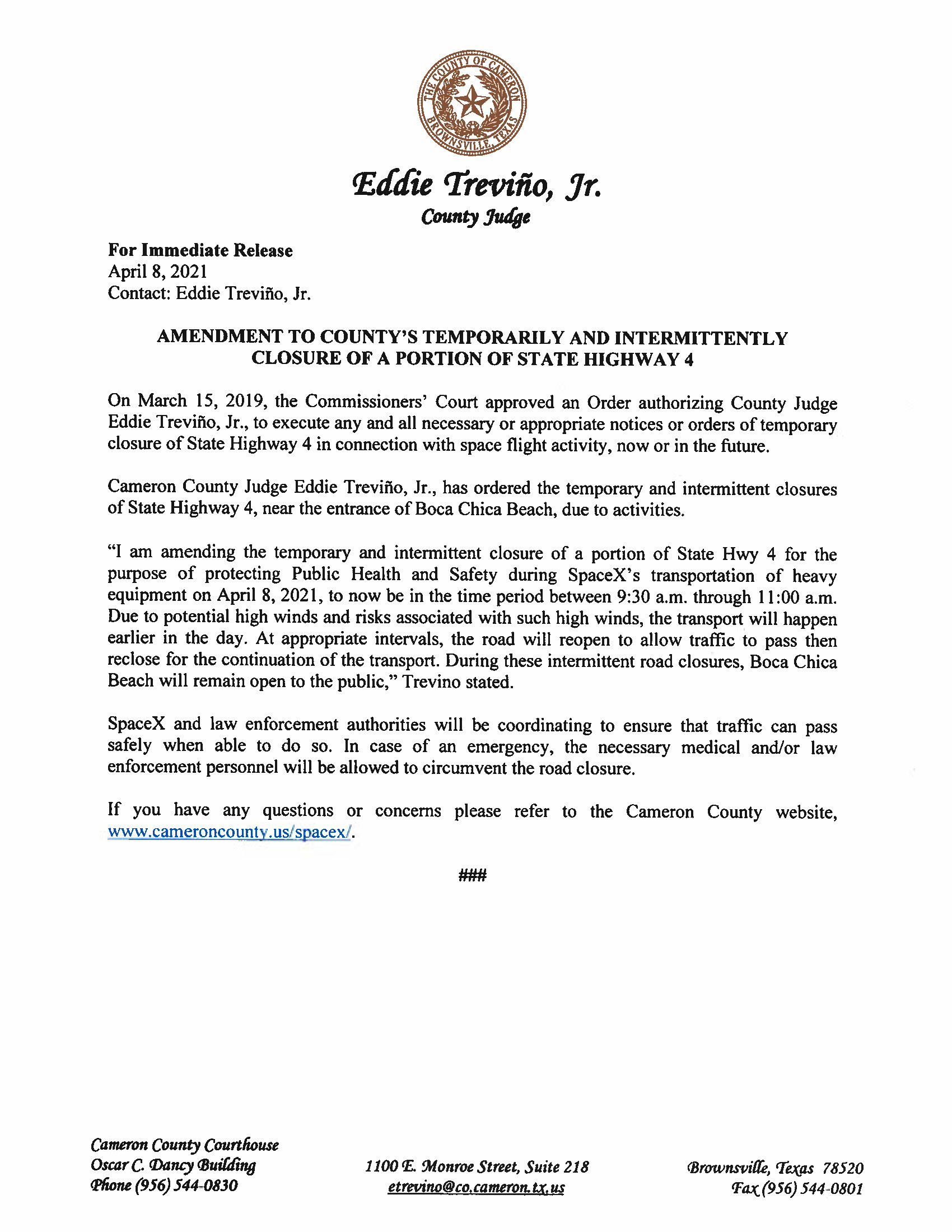 Amended Press Release In English And Spanish.04.08.2021 Page 1