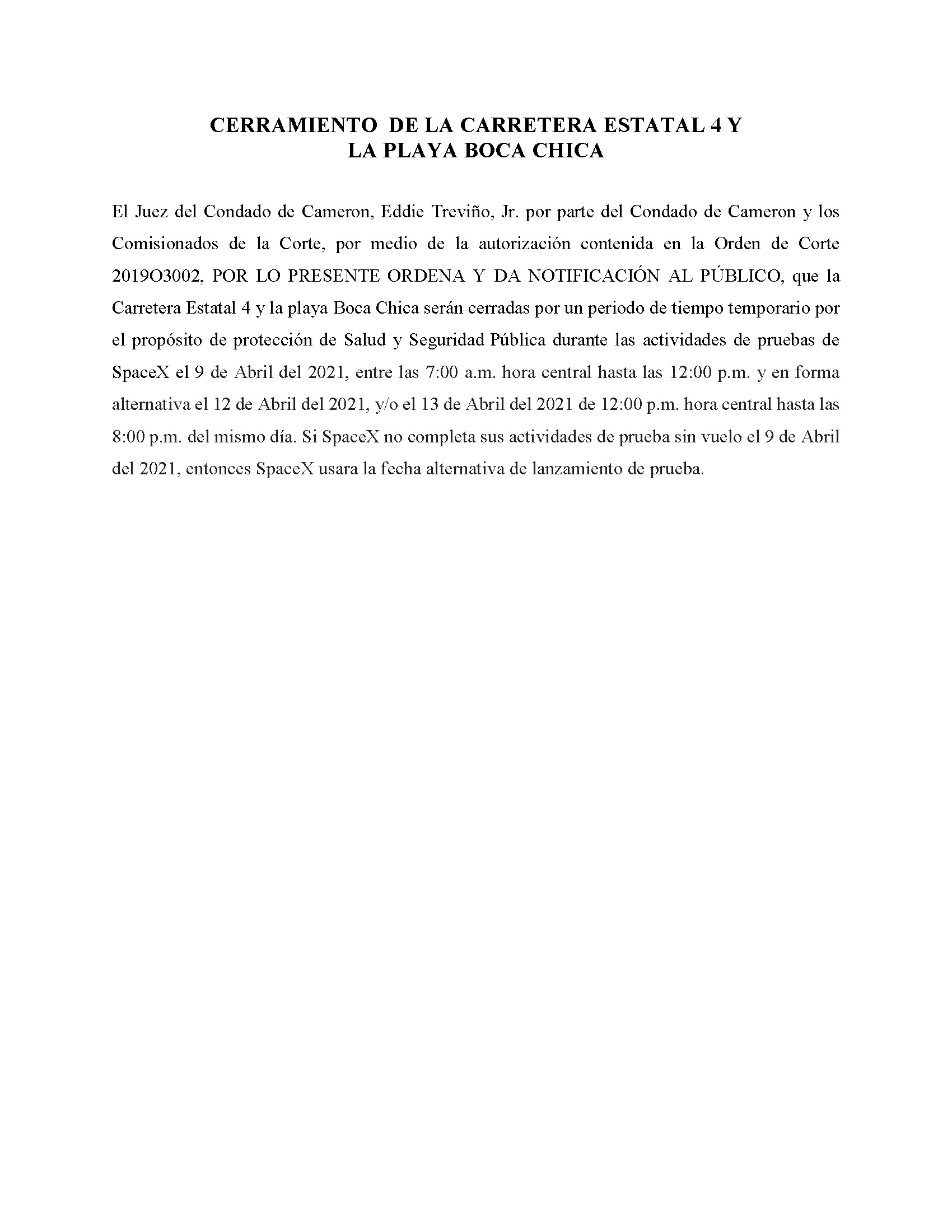 ORDER.CLOSURE OF HIGHWAY 4 Y LA PLAYA BOCA CHICA.SPANISH.04.09.21