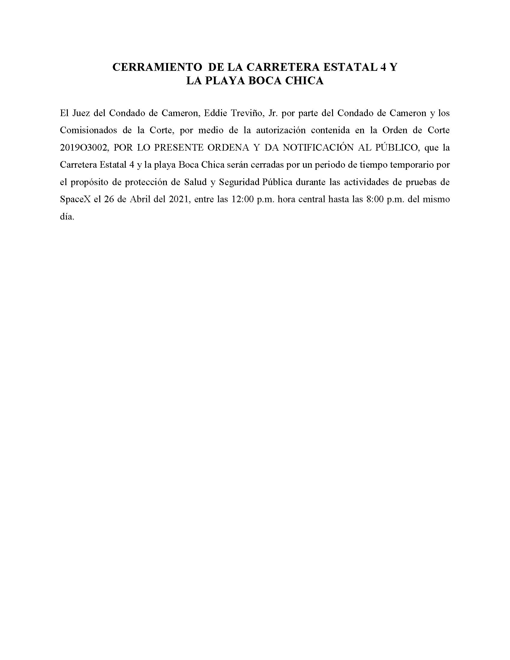 ORDER.CLOSURE OF HIGHWAY 4 Y LA PLAYA BOCA CHICA.SPANISH.04.26.2021