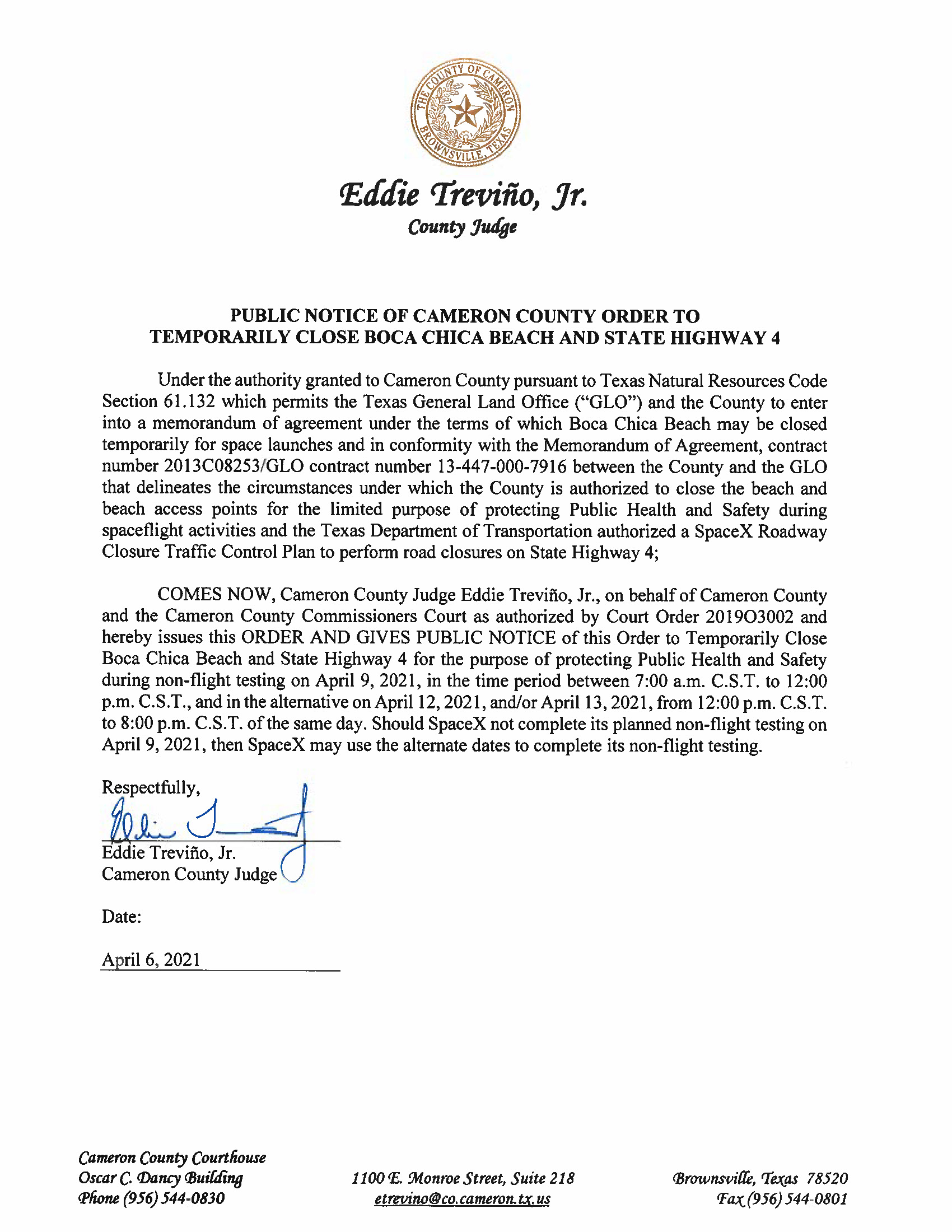 PUBLIC NOTICE OF CAMERON COUNTY ORDER TO TEMP. BEACH CLOSURE AND HWY.04.09.21.docx