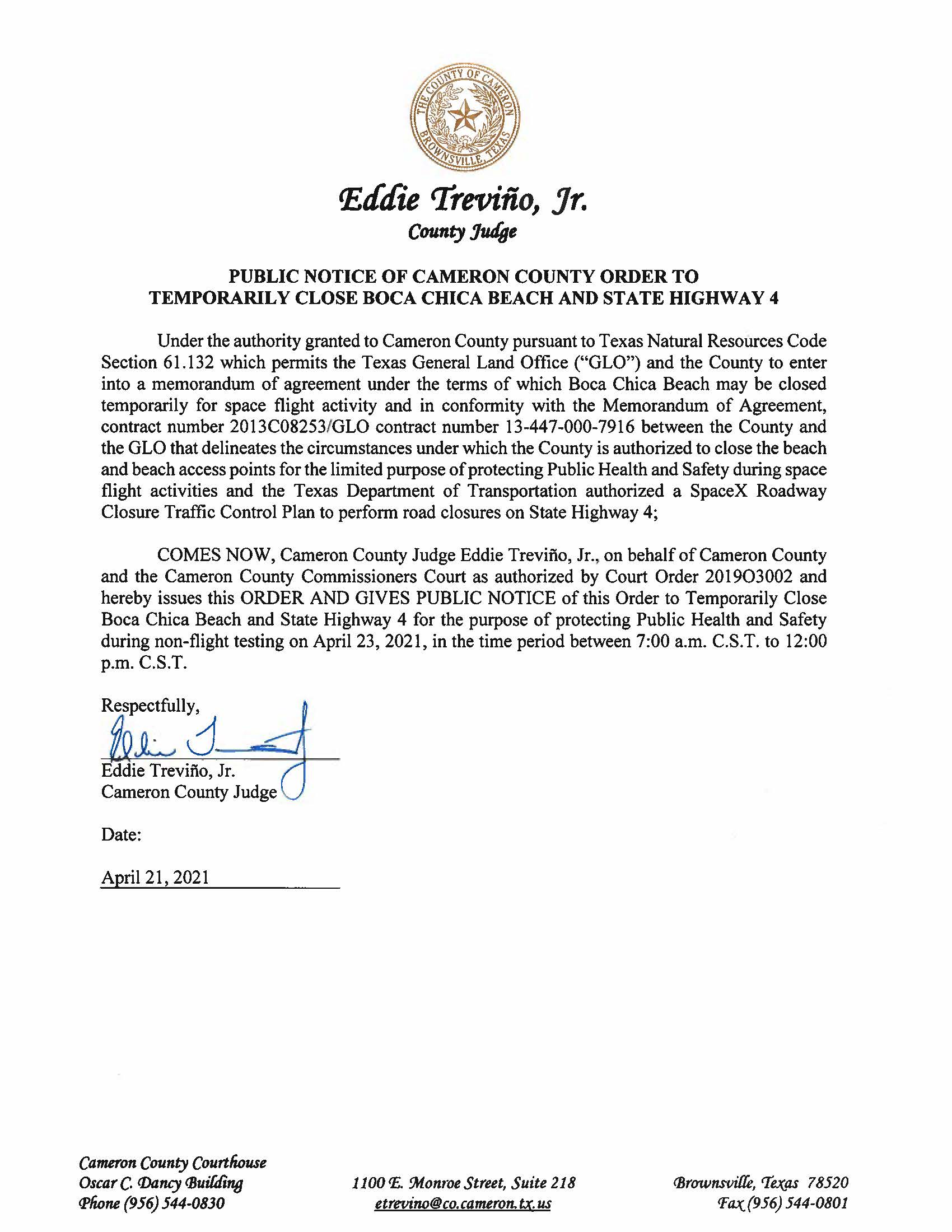 PUBLIC NOTICE OF CAMERON COUNTY ORDER TO TEMP. BEACH CLOSURE AND HWY.04.23.2021 002
