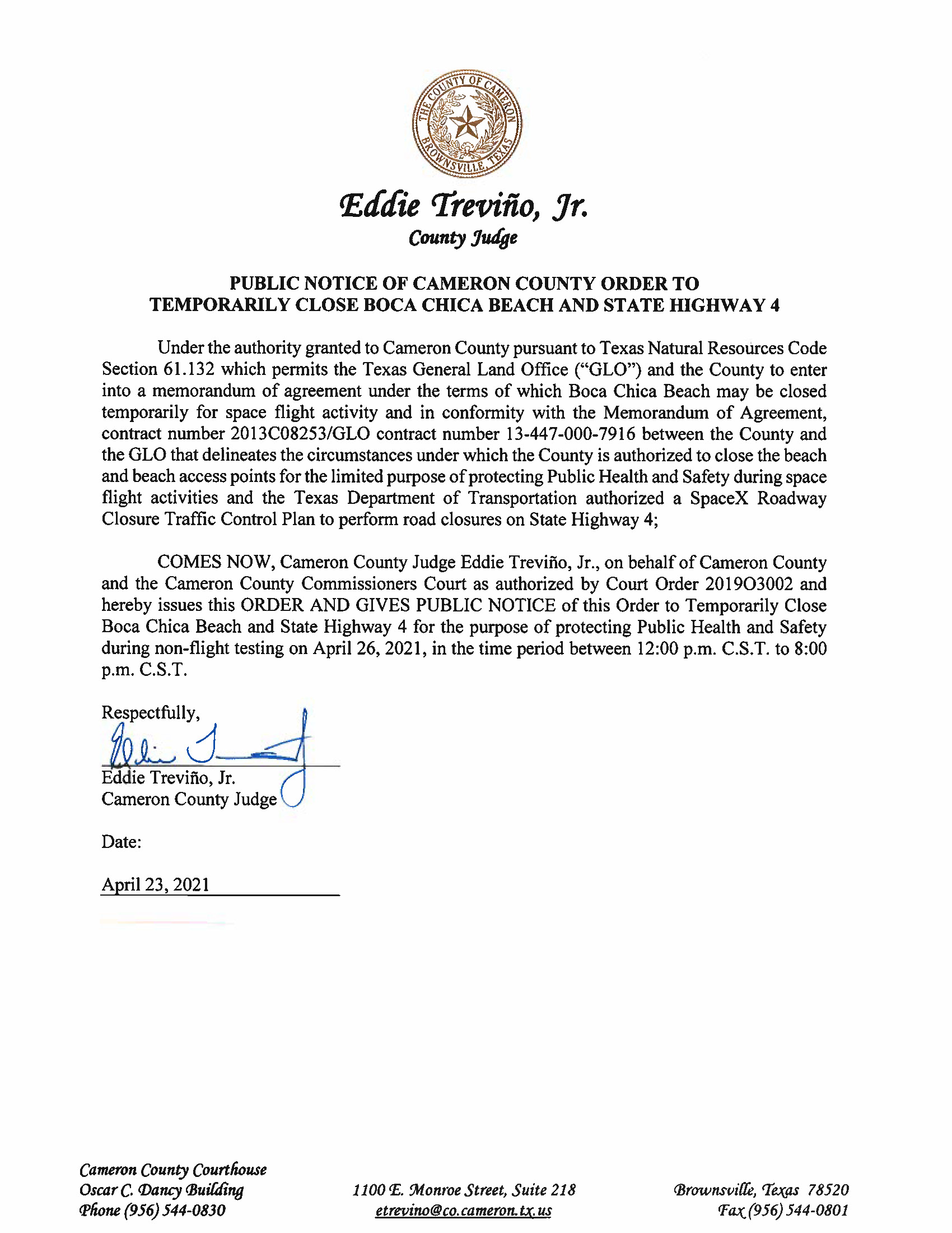 PUBLIC NOTICE OF CAMERON COUNTY ORDER TO TEMP. BEACH CLOSURE AND HWY.04.26.2021