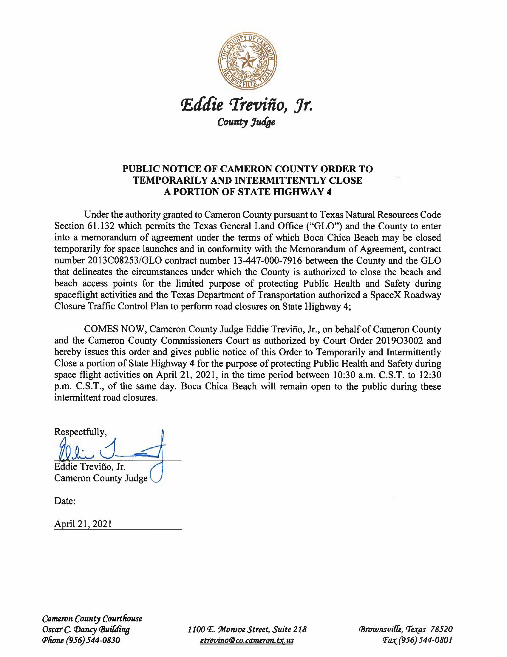 PUBLIC NOTICE OF CAMERON COUNTY ORDER TO TEMP. ROAD CLOSURE. 04.21.2021