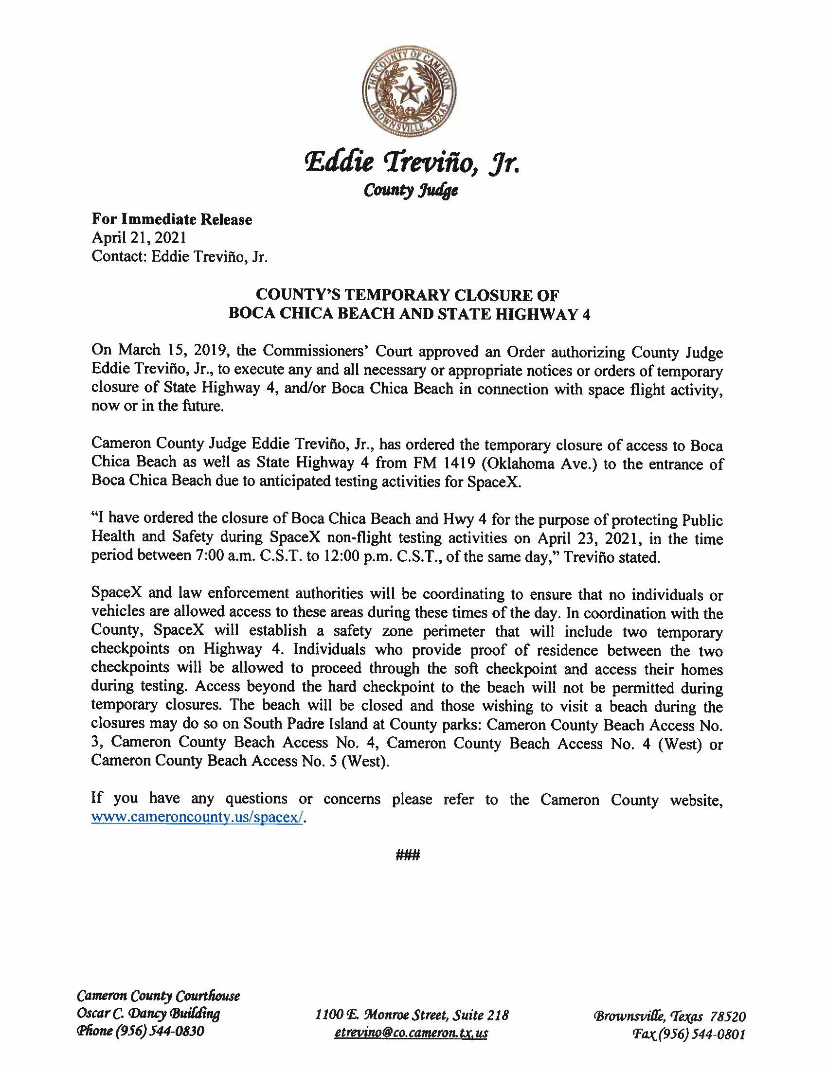 Press Release In English And Spanish.04.23.2021 002 Page 1