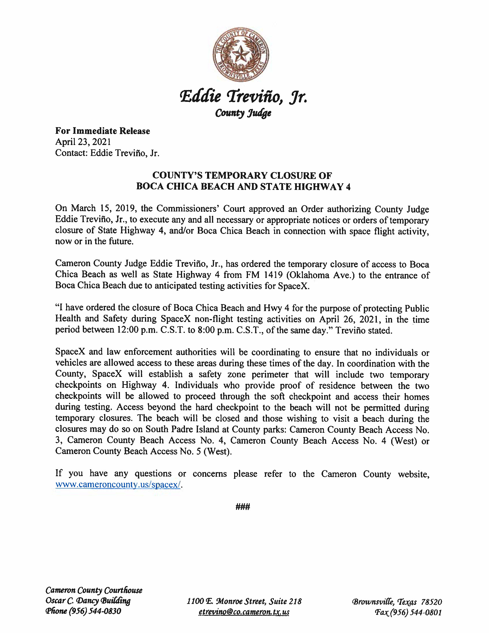 Press Release In English And Spanish.04.26.2021 Page 1