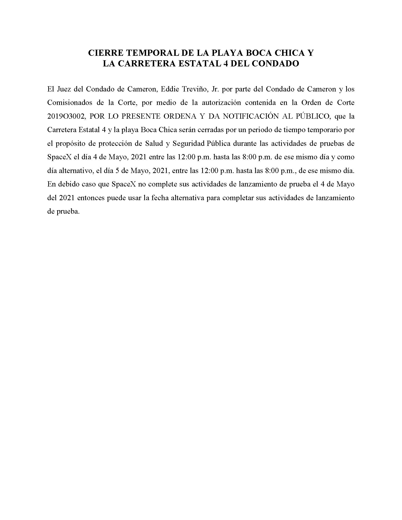 ORDER.CLOSURE OF HIGHWAY 4 Y LA PLAYA BOCA CHICA.SPANISH.05.04.2021