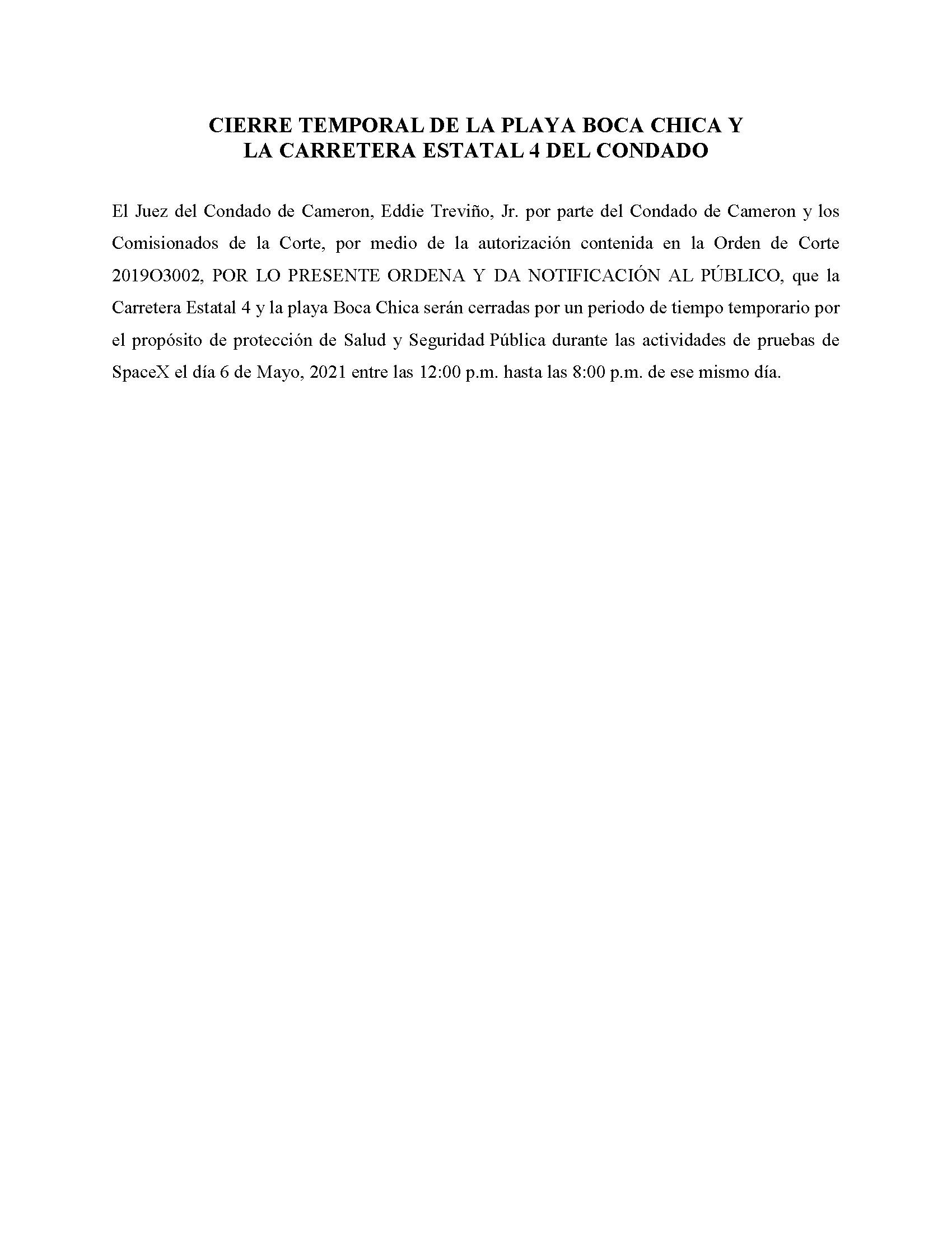 ORDER.CLOSURE OF HIGHWAY 4 Y LA PLAYA BOCA CHICA.SPANISH.05.06.2021