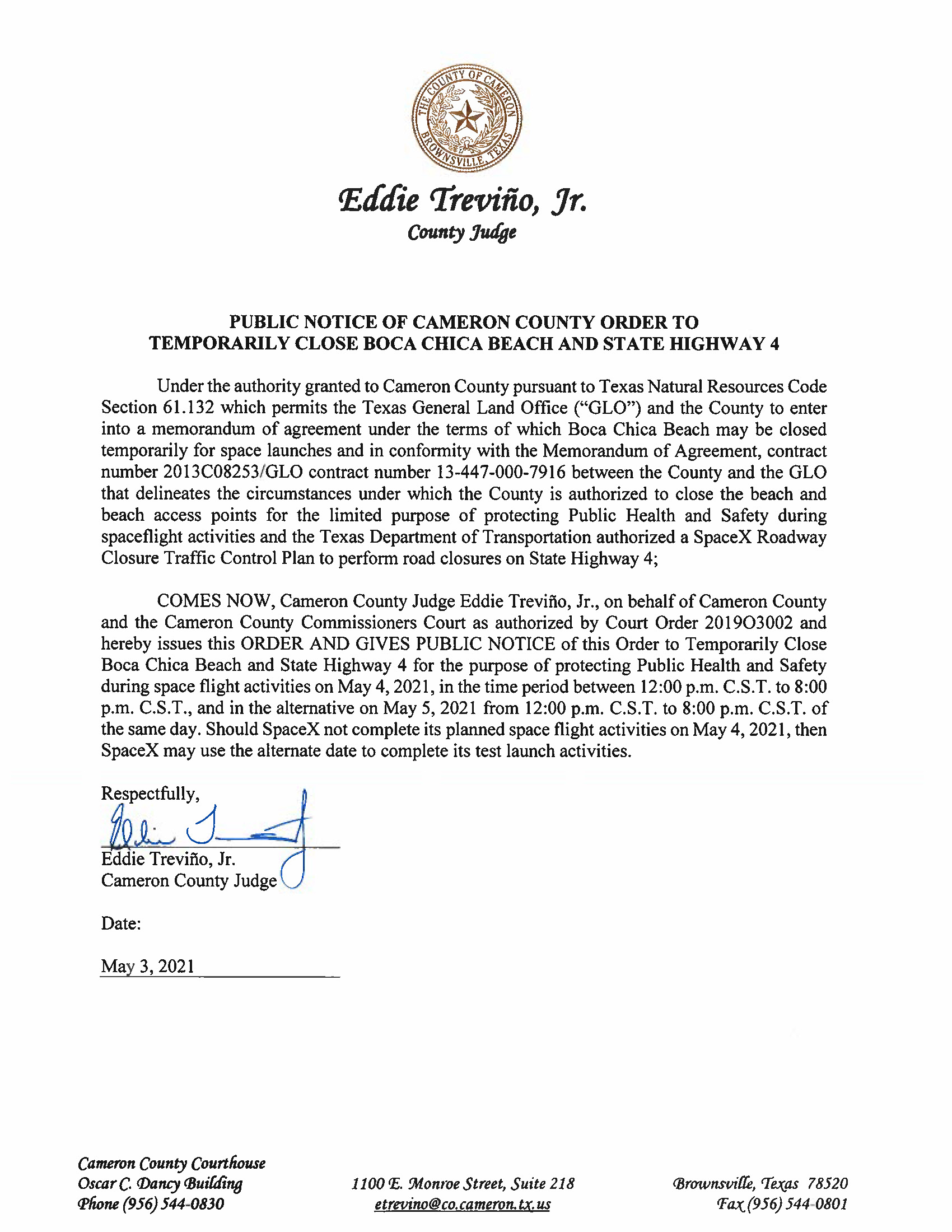 PUBLIC NOTICE OF CAMERON COUNTY ORDER TO TEMP. BEACH CLOSURE AND HWY.05.04.2021
